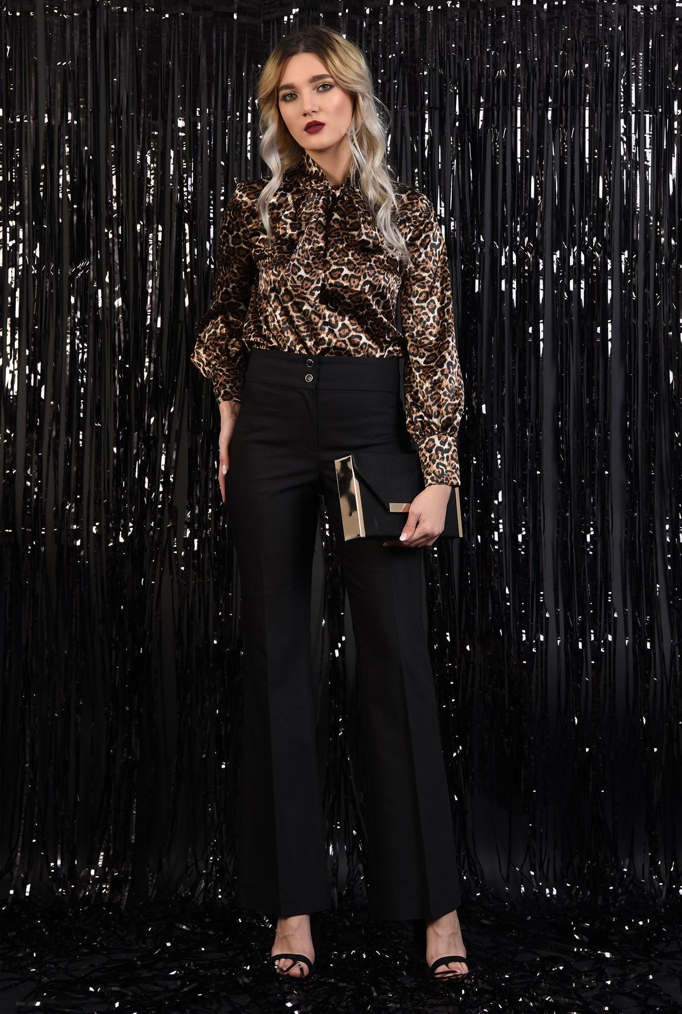 360 - pantaloni eleganti, negri, talie medie, cu nasturi, croi drept