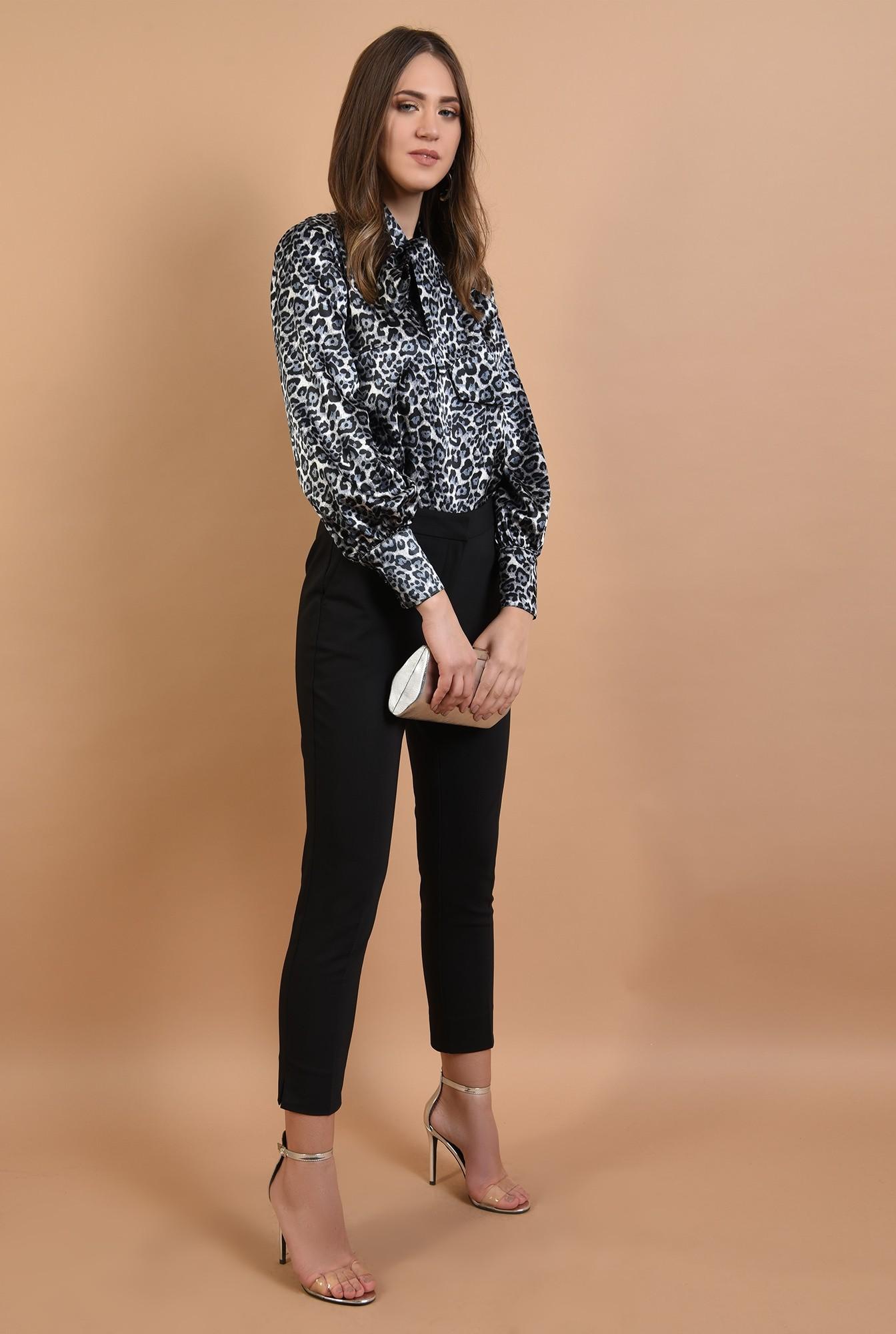 360 - pantaloni eleganti, negri, talie medie, croi conic, cu fente