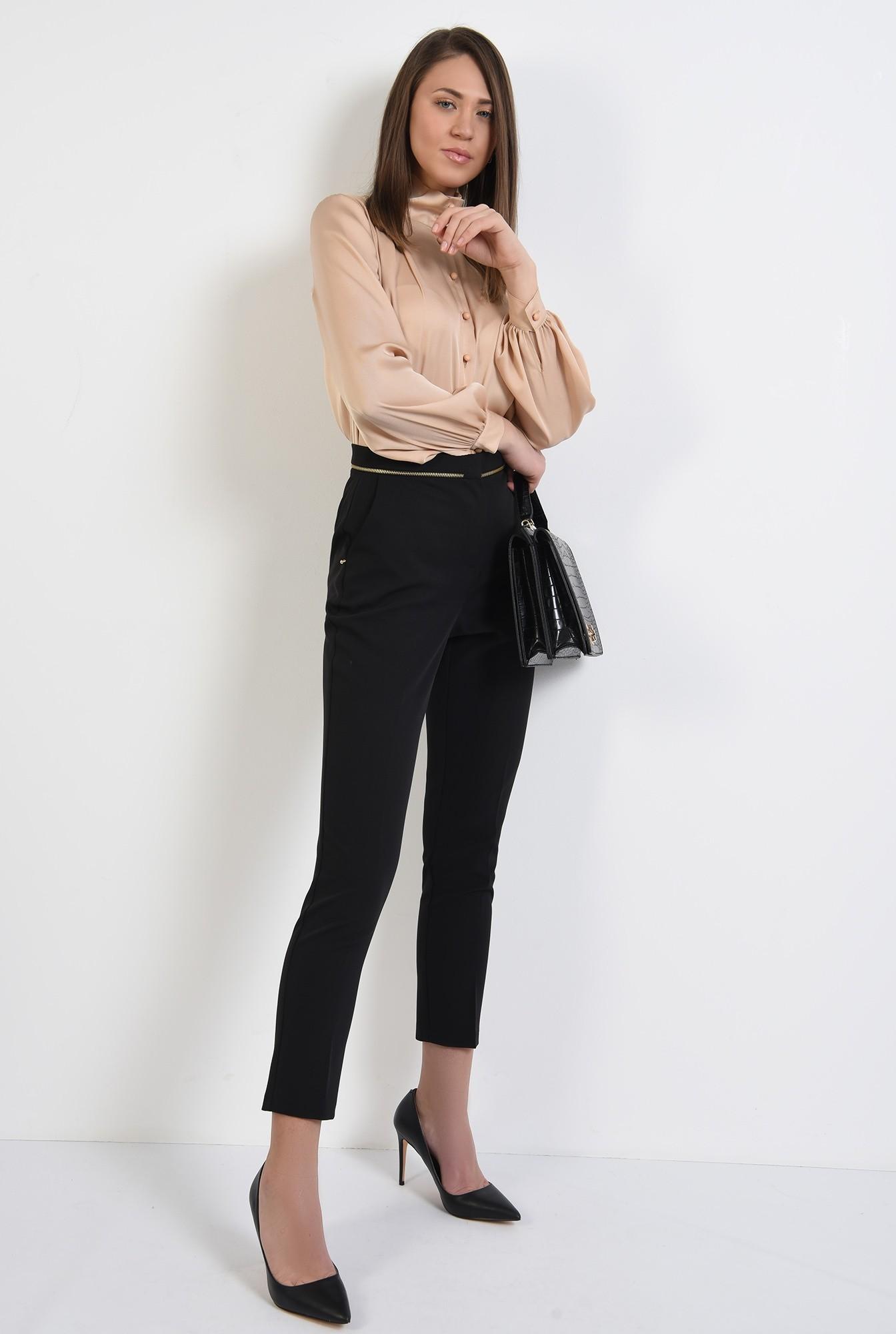pantaloni office, negri, talie medie, cu buzunare, pantaloni de primavara