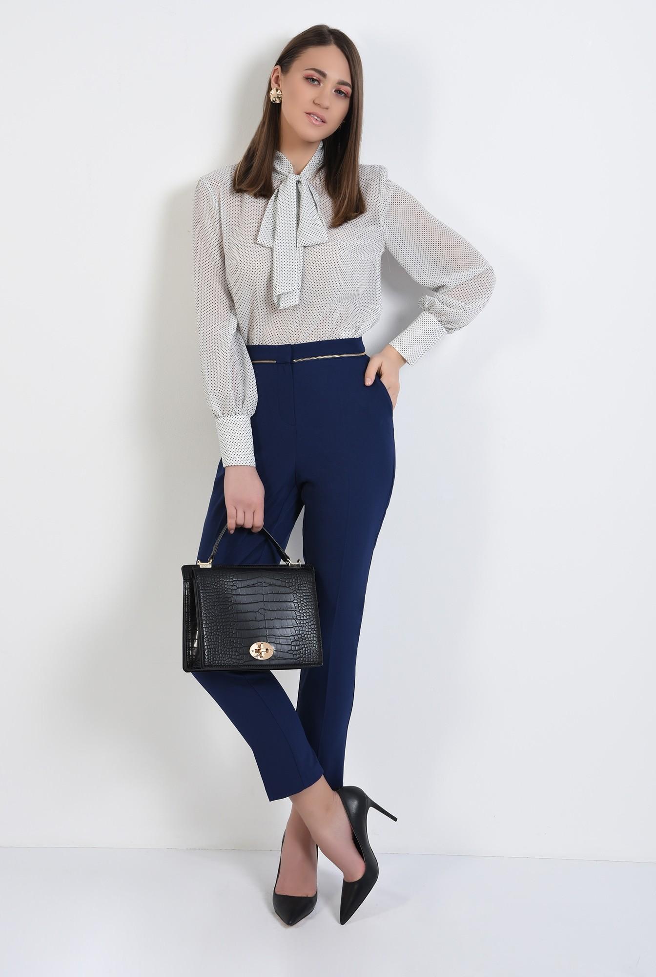 pantaloni office, bleumarin, talie medie, cu buzunare, pantaloni de primavara