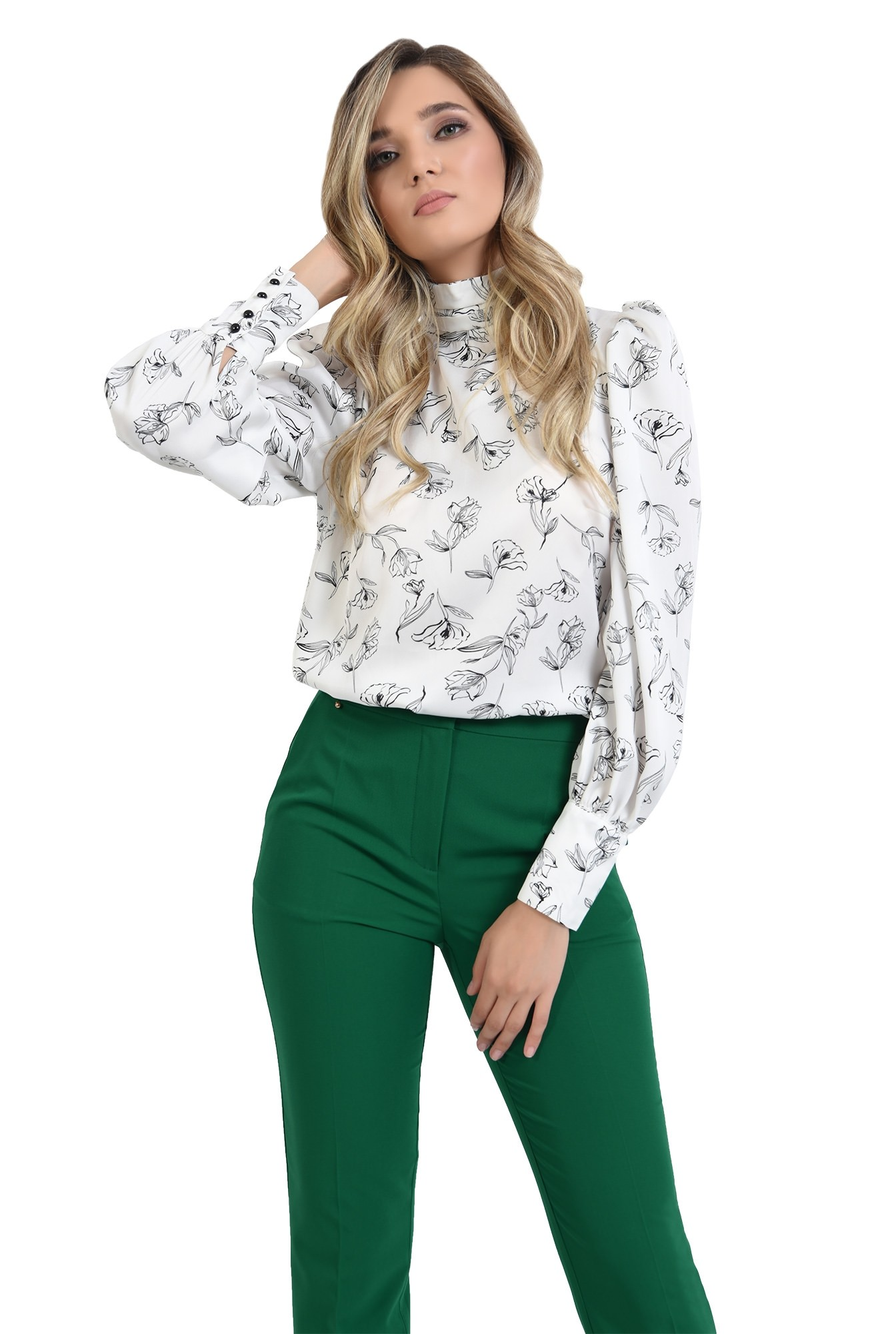 pantaloni verzi, conici, cu talie medie