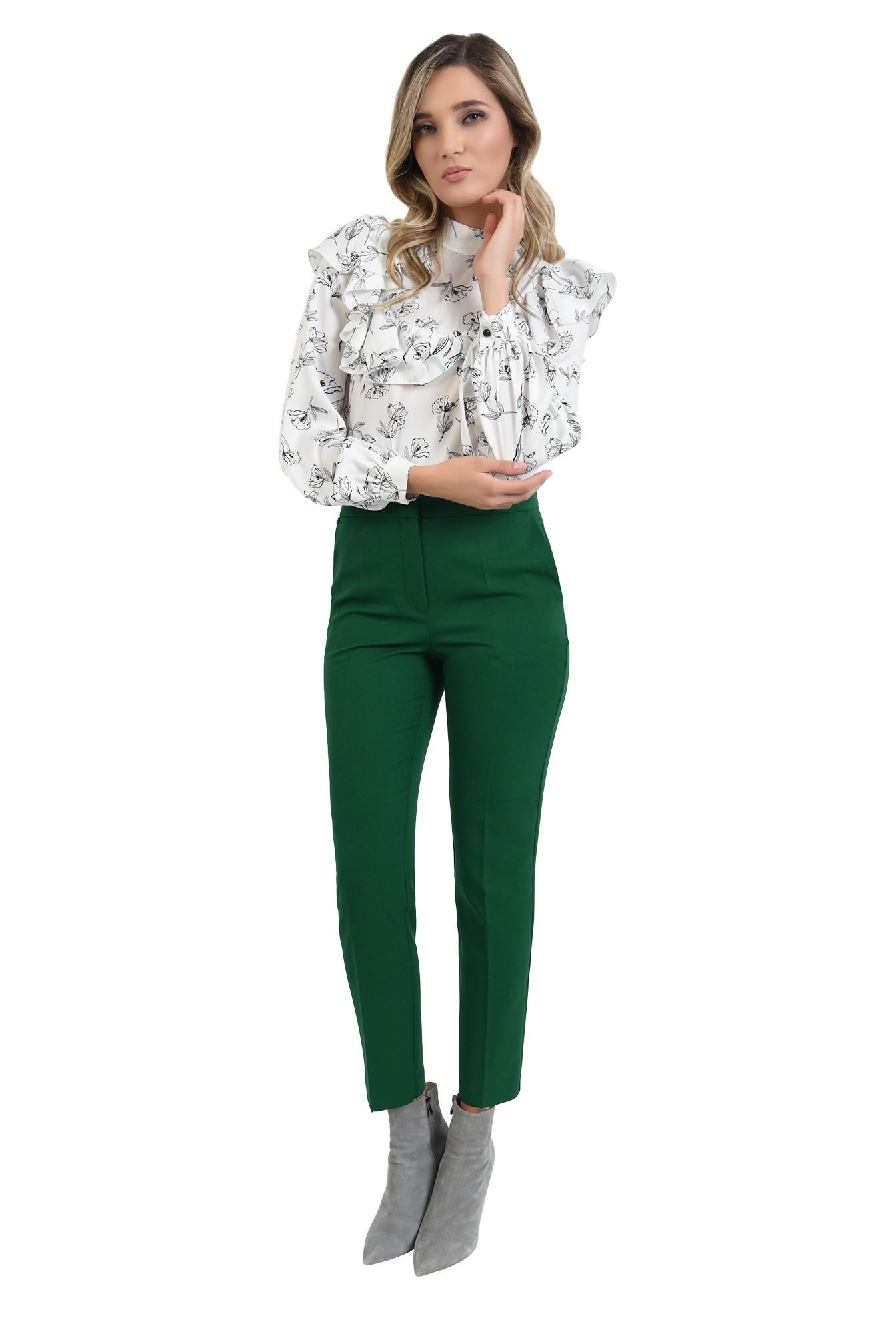pantaloni cu talie medie, croi conic, casual