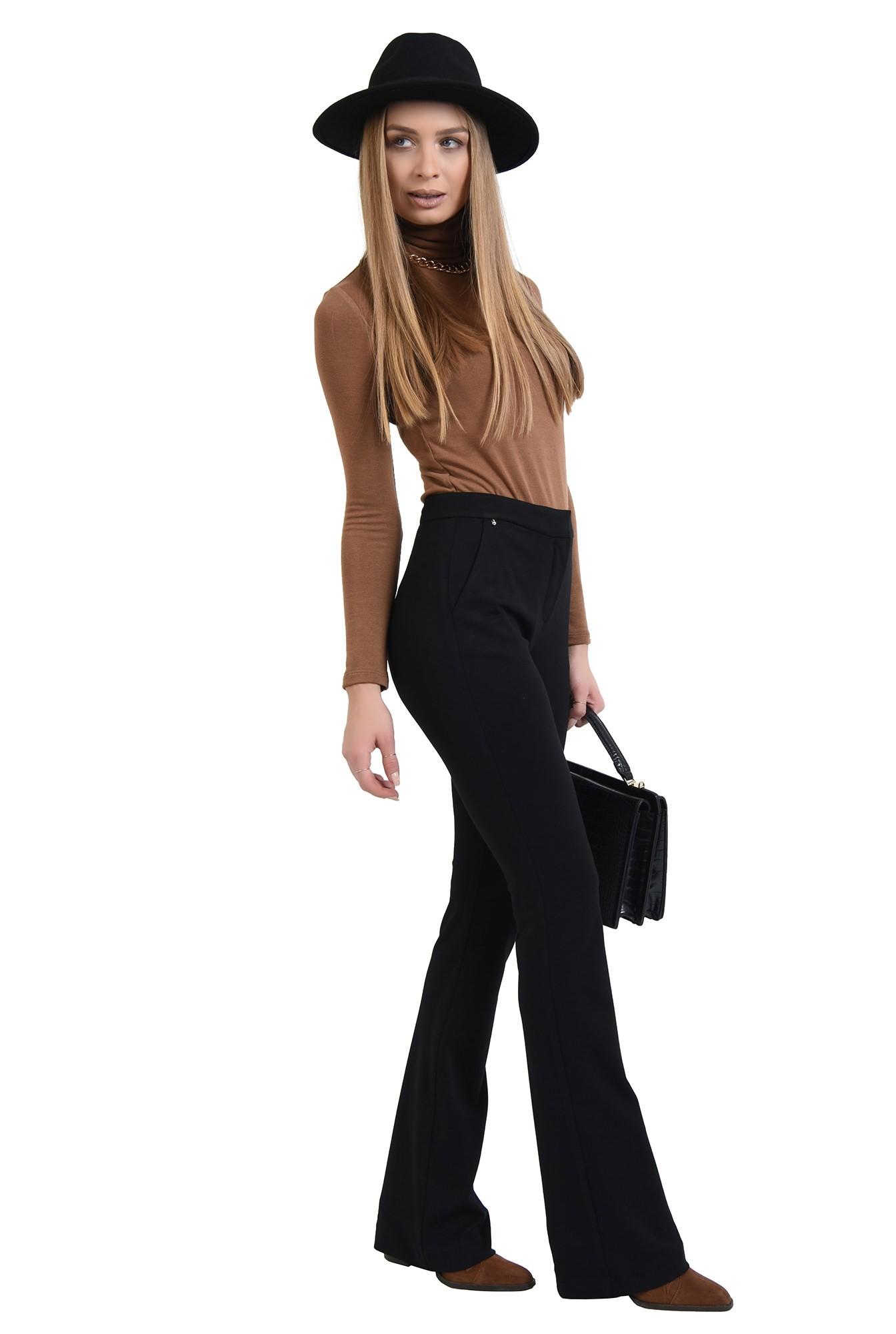 pantaloni negri, cu talie medie, cu buzunare