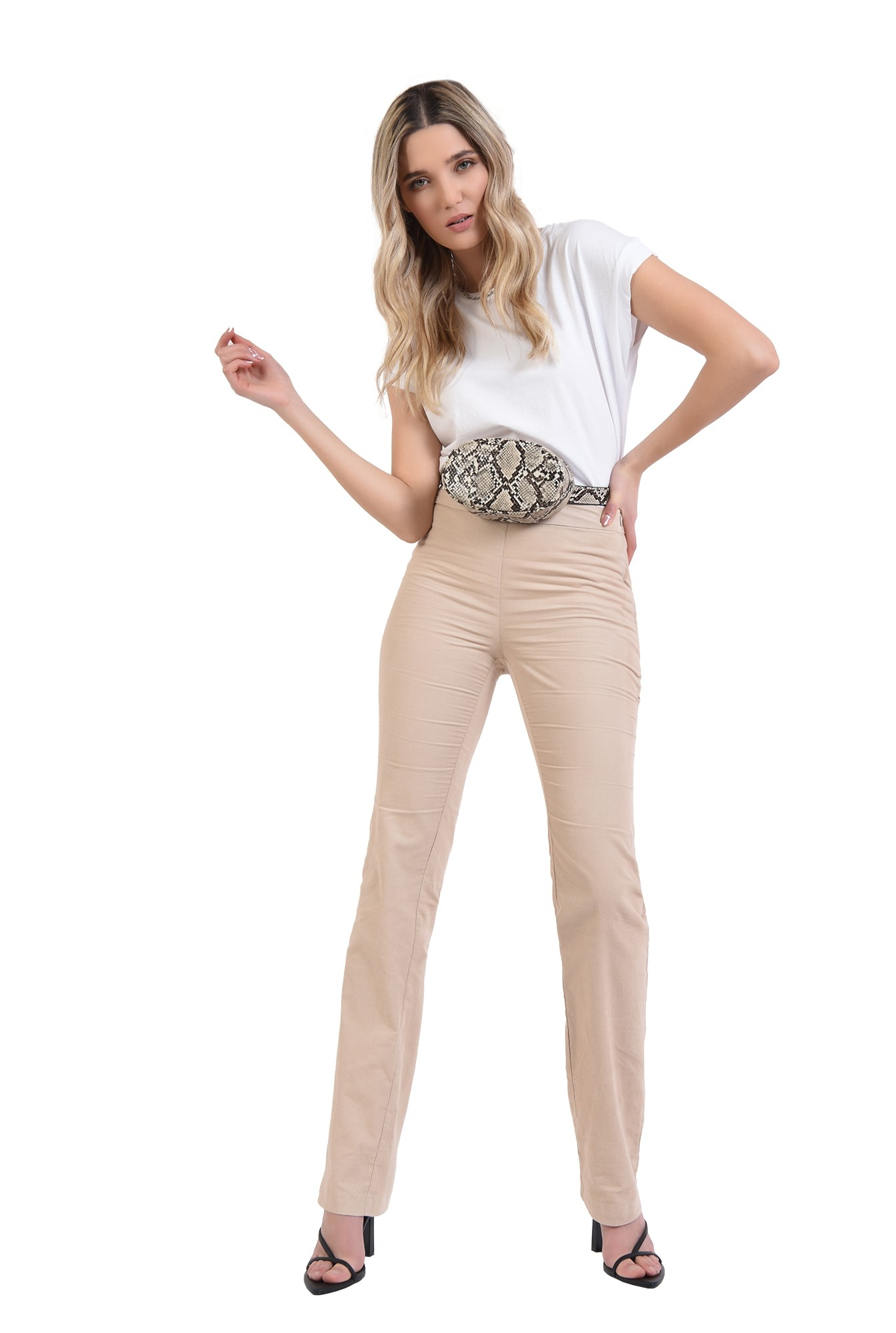 pantaloni reiati, casual, cu fermoar lateral