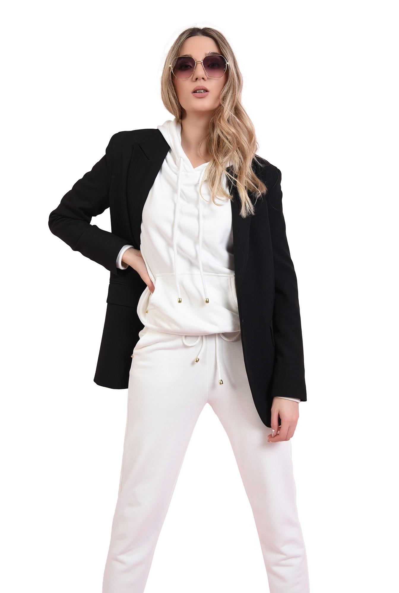 pantaloni casual, albi, cu buzunare, Poema