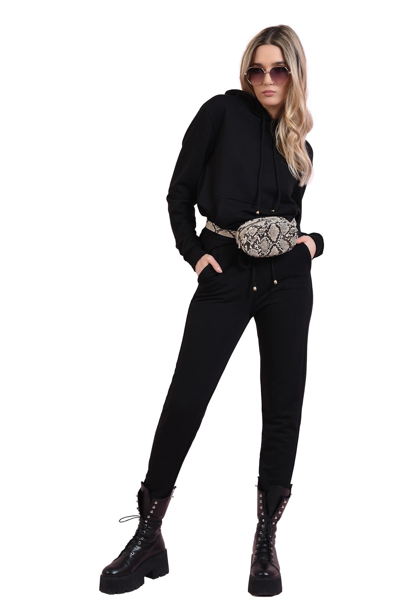 pantaloni negri, casual, cu talie medie