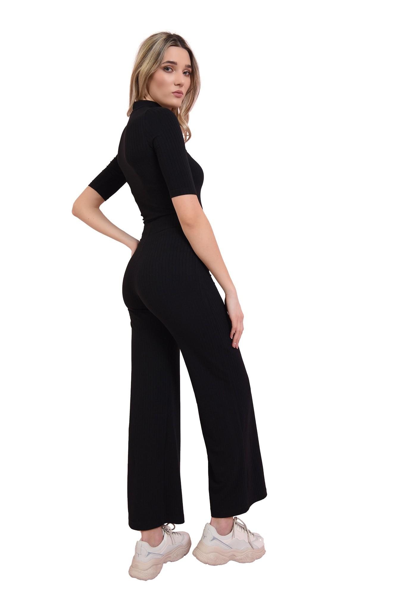 pantaloni negri, cu talie medie