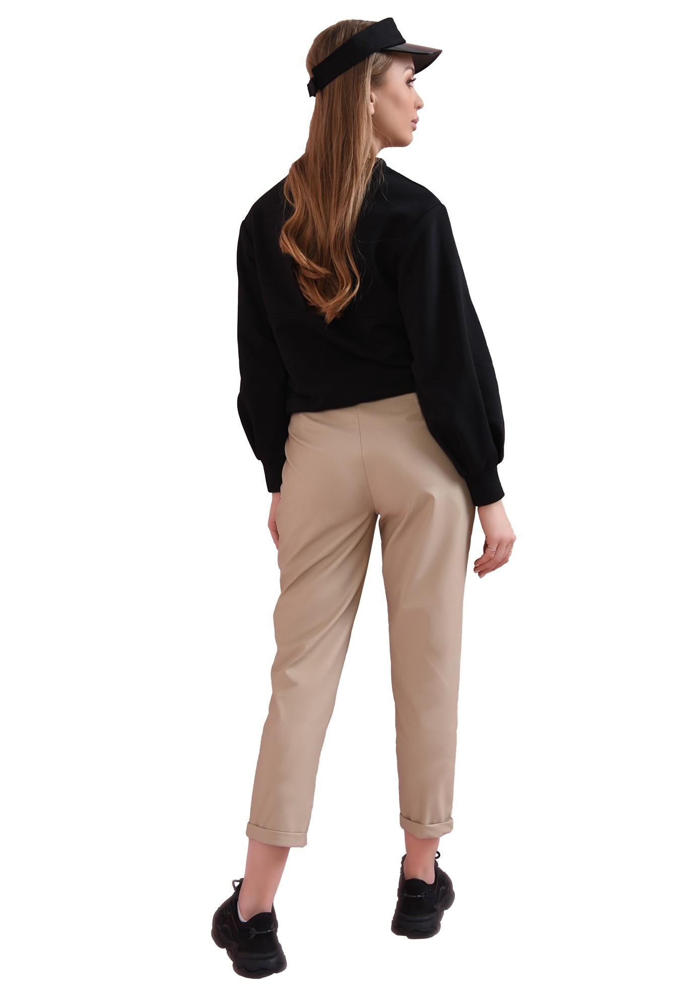 pantaloni casual, cu talie medie, cu buzunare