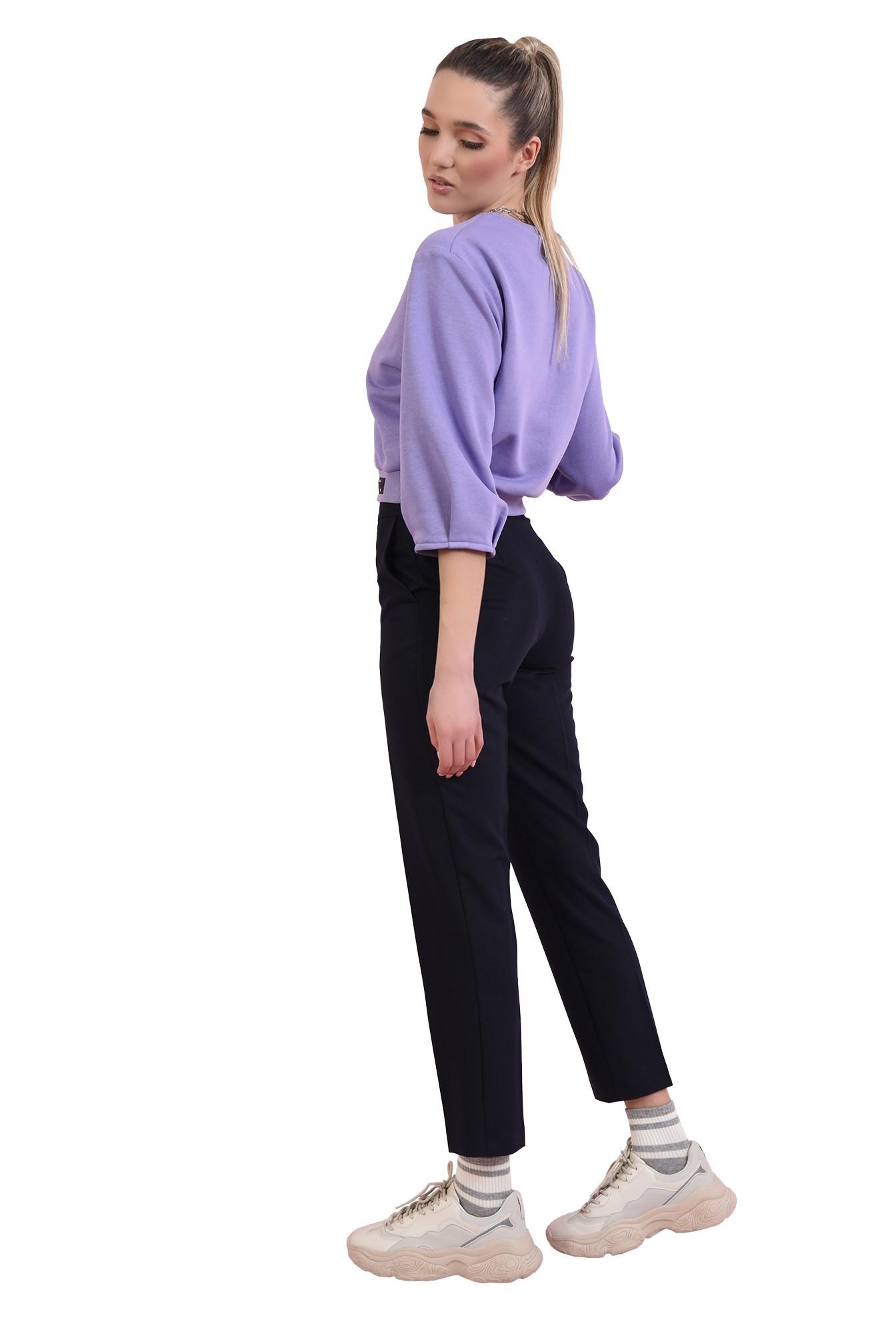 pantaloni navy, casual, cu talie medie
