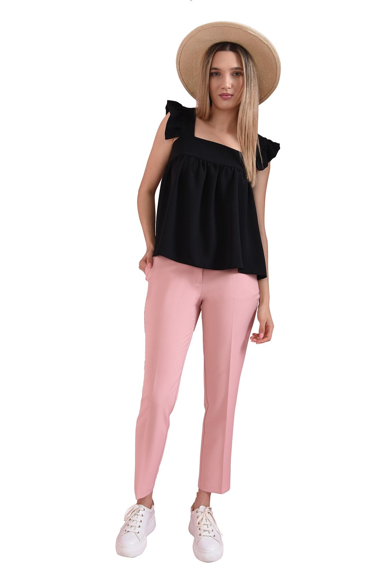 pantaloni casual, roz, cu buzunar decorativ