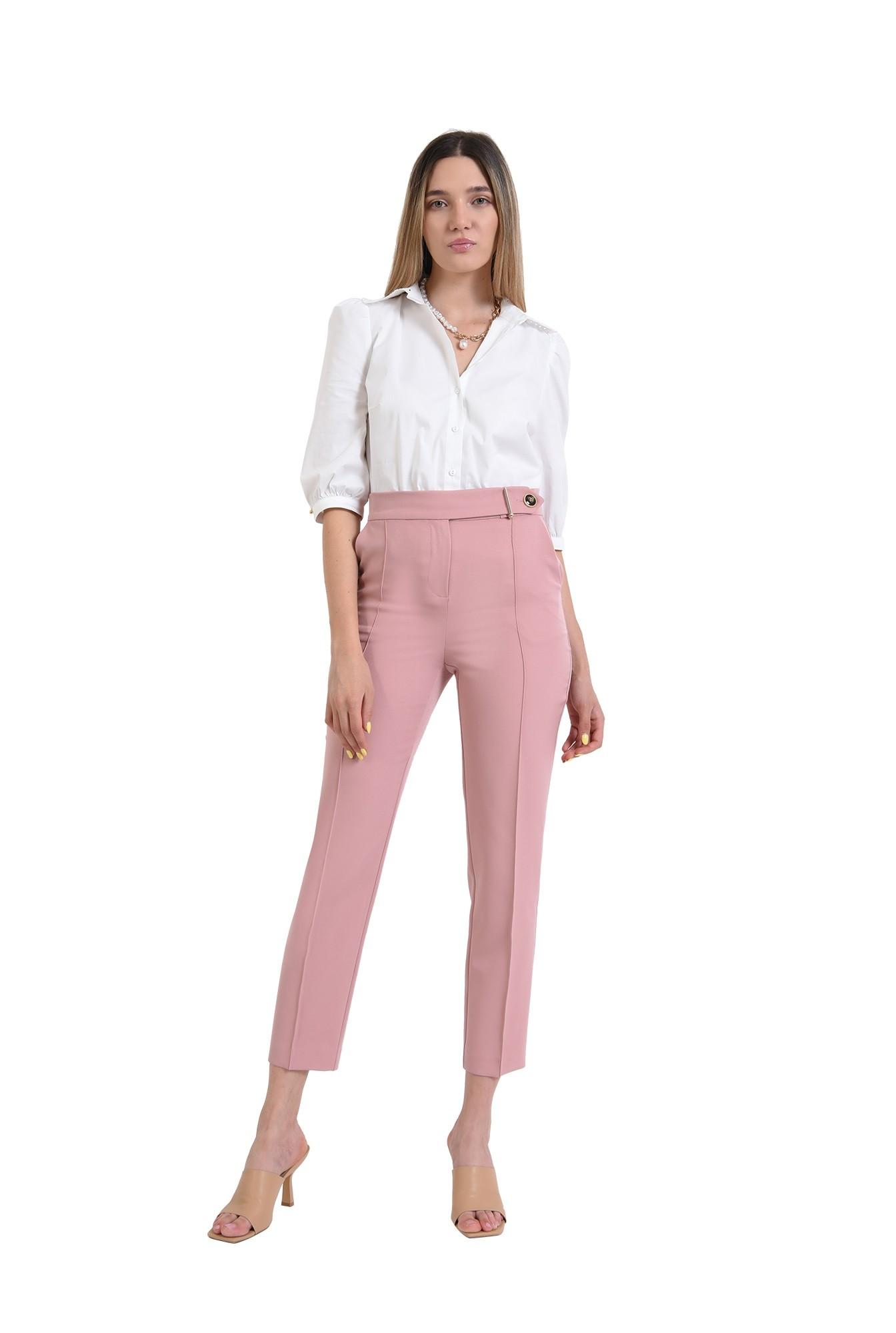 pantaloni roz, conici, office, casual, pantaloni pana