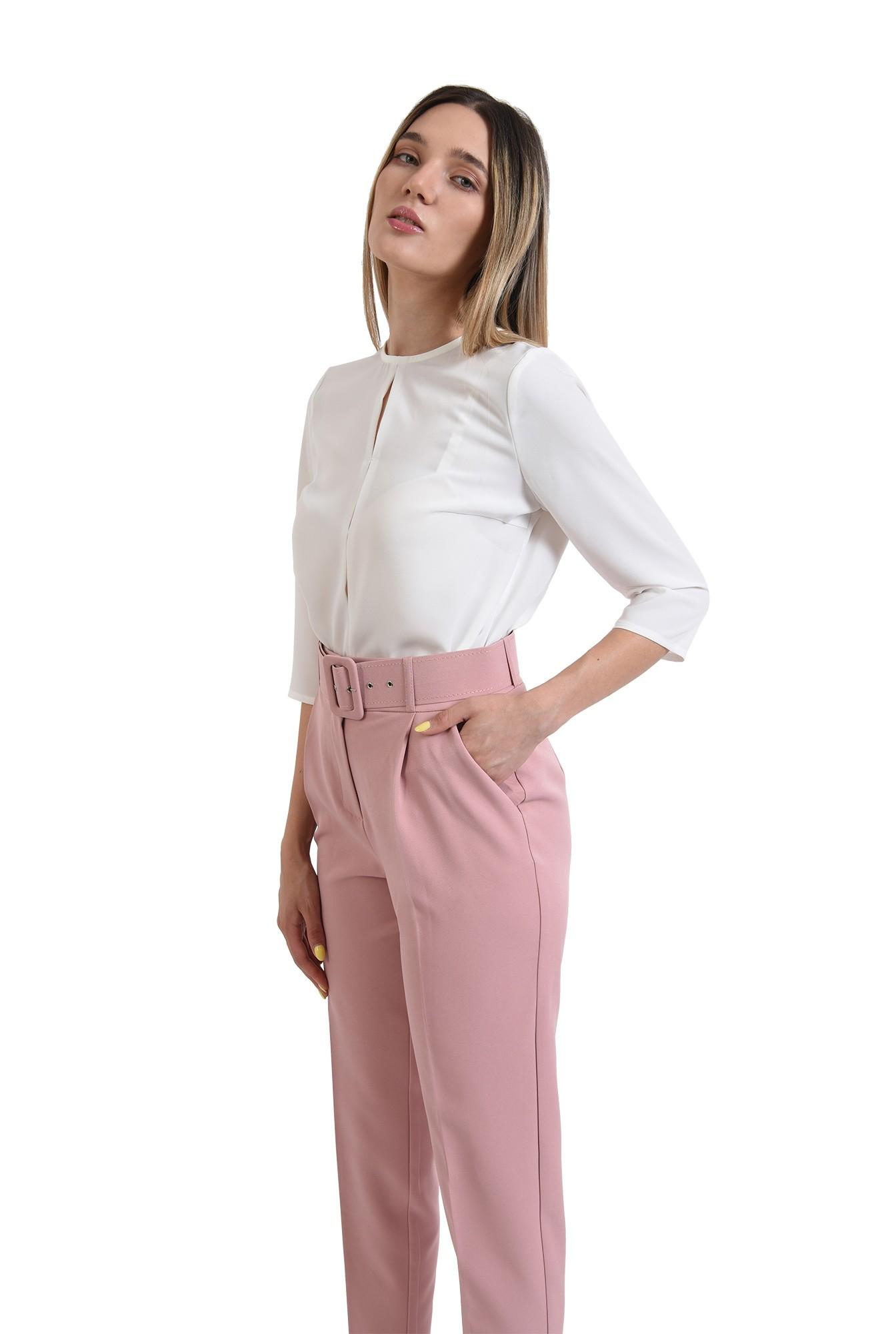 pantaloni lungi, cu talie inalta, cu buzunare laterale