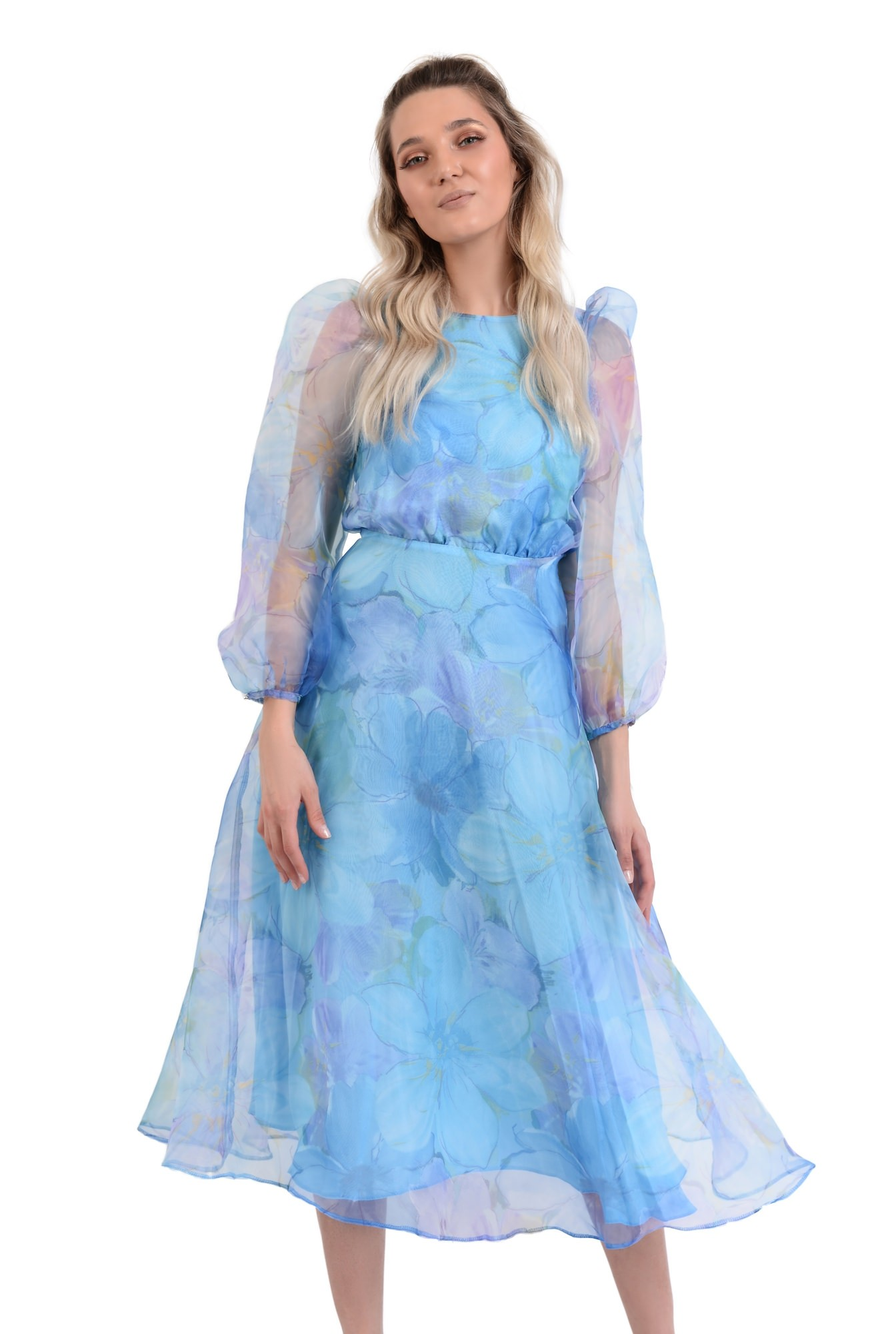 rochie lunga, eleganta, din organza, maneci bufante, imprimeu floral