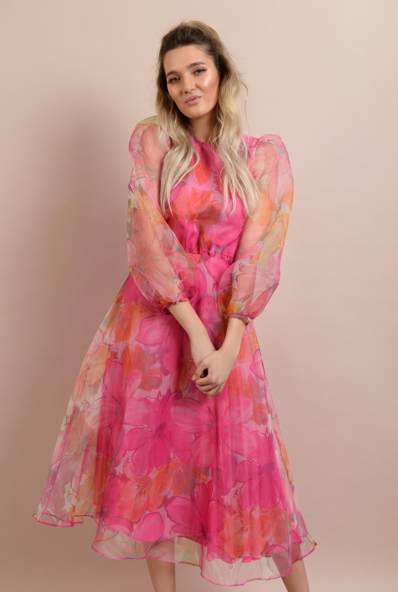 rochie de ocazie, lunga, clos, organza cu print floral, maneci bufante, Poema