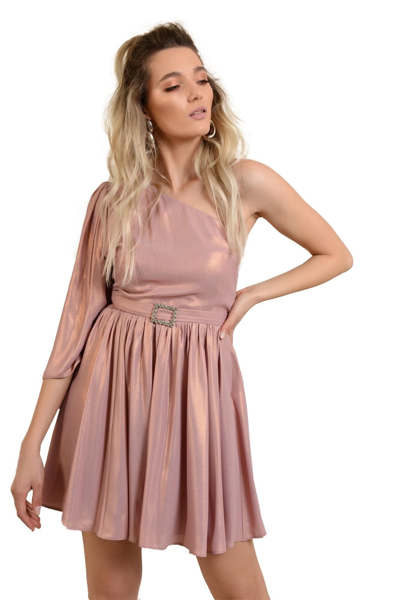 rochie de ocazie, cu o maneca, decolteu asimetric, clos, catarama decorativa, roz