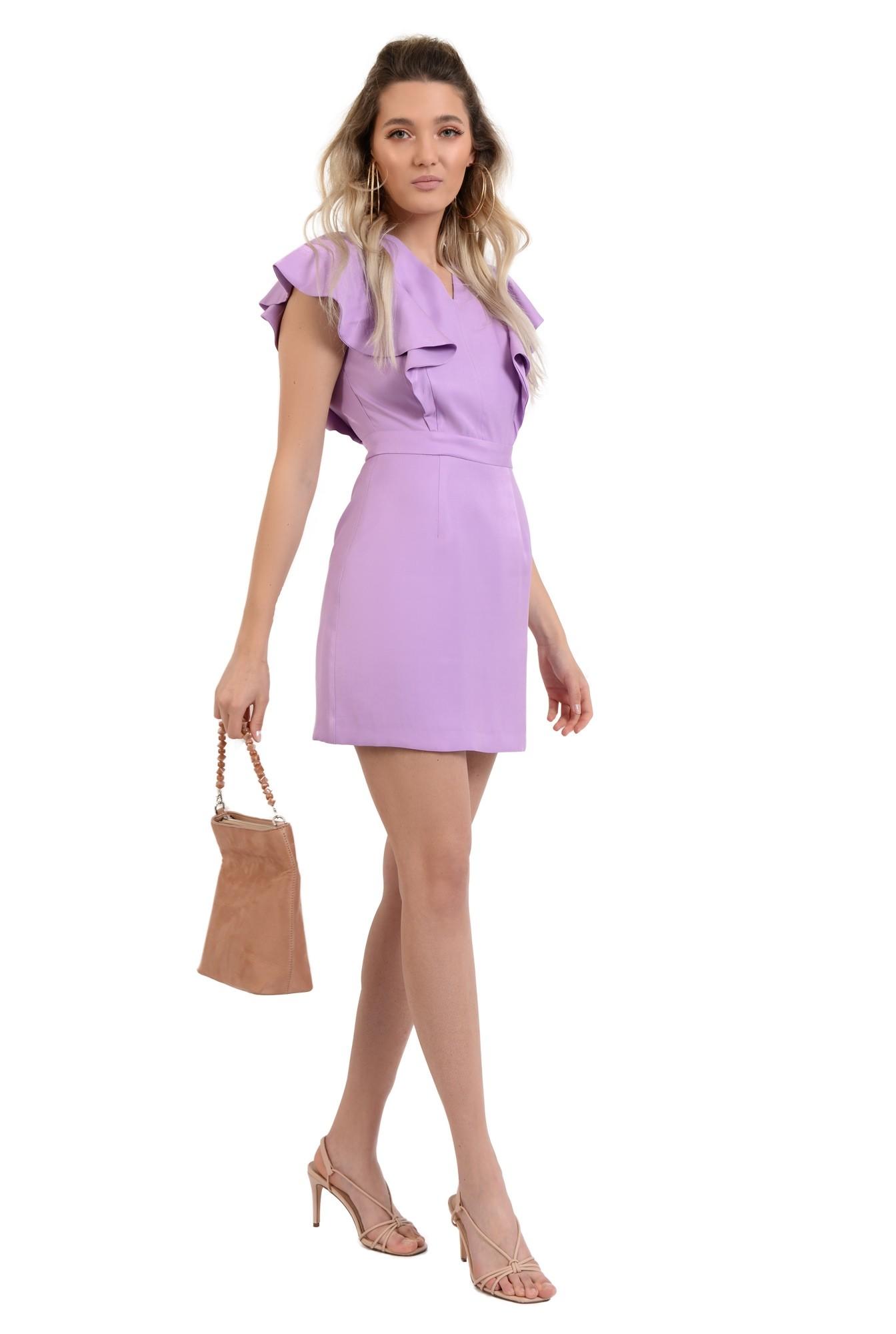 360 - rochie scurta, mini, cu volane, funda la spate, anchior, lila