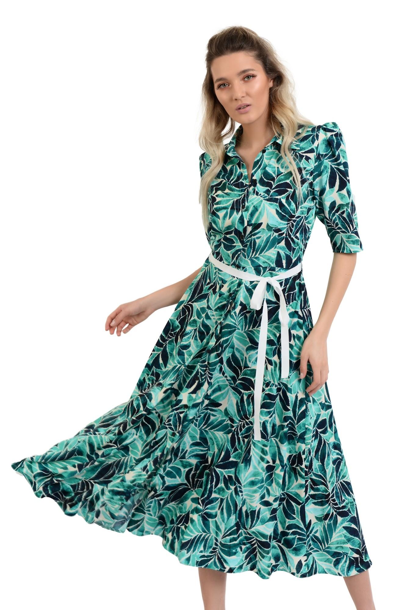 rochie de vara, midi, evazata, cu print, cu cordon in contrast
