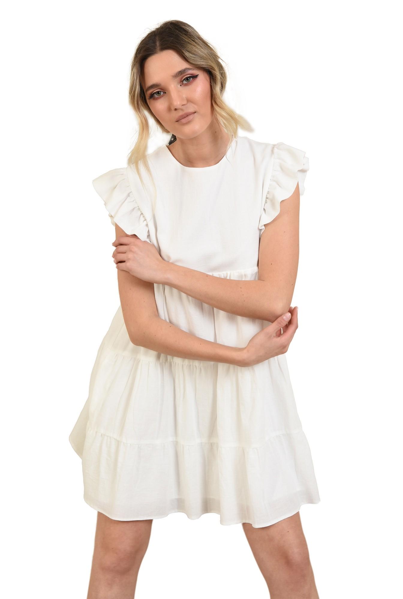 rochie babydoll, cu maneci volan, evazata, scurta, rochie de vara