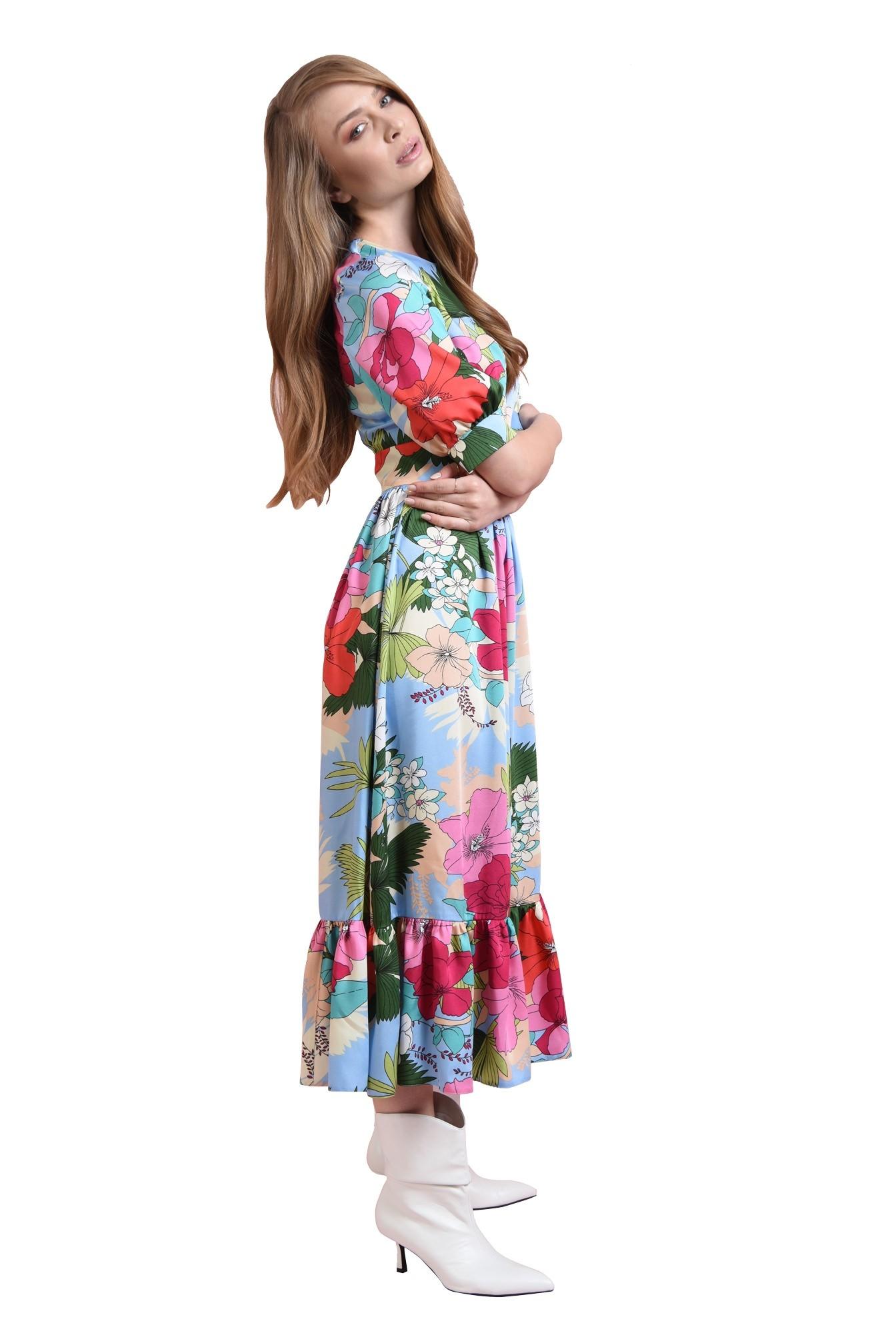 rochie midi, cu volan, cu print