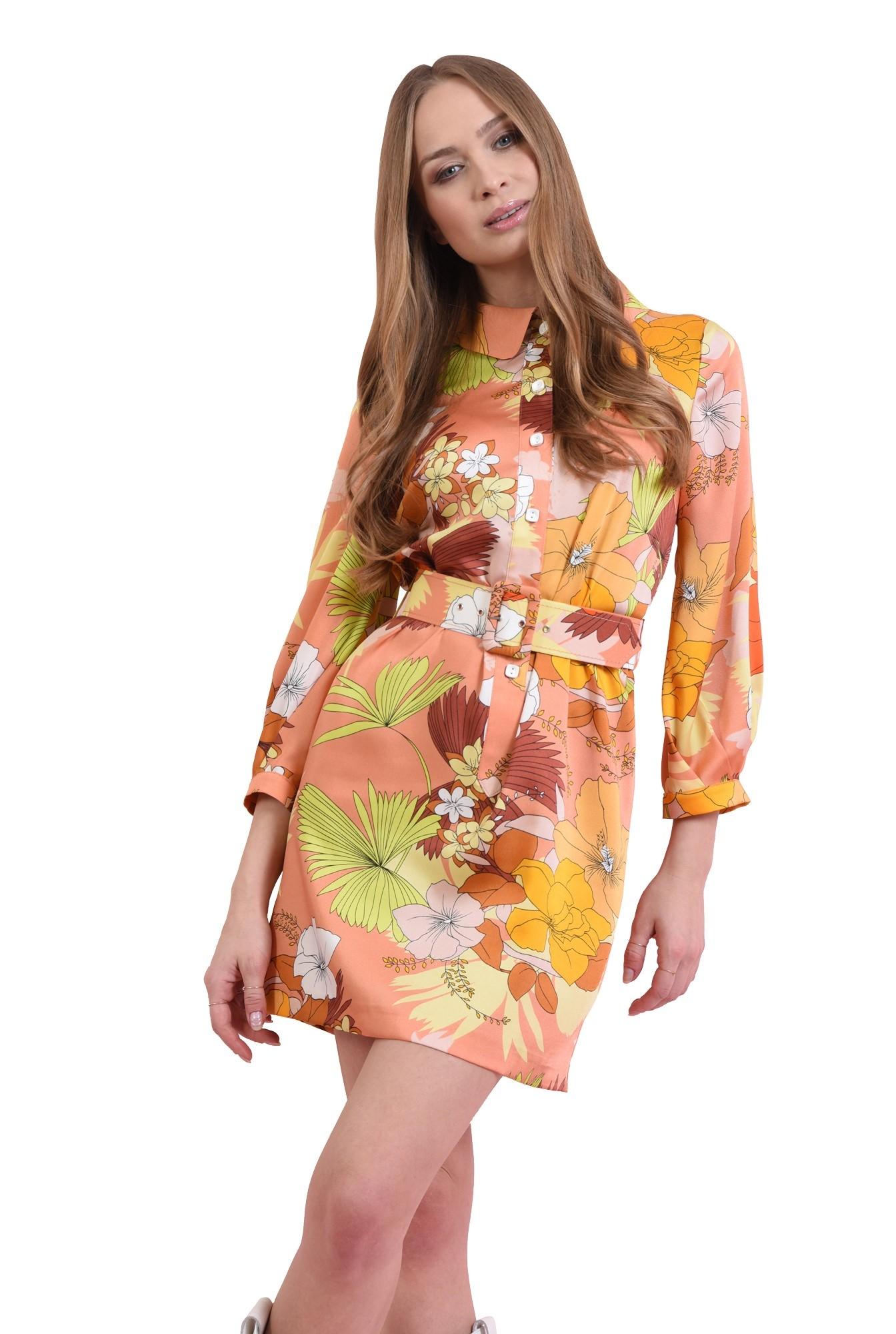 rochie mini, cu centura, cu nasturi