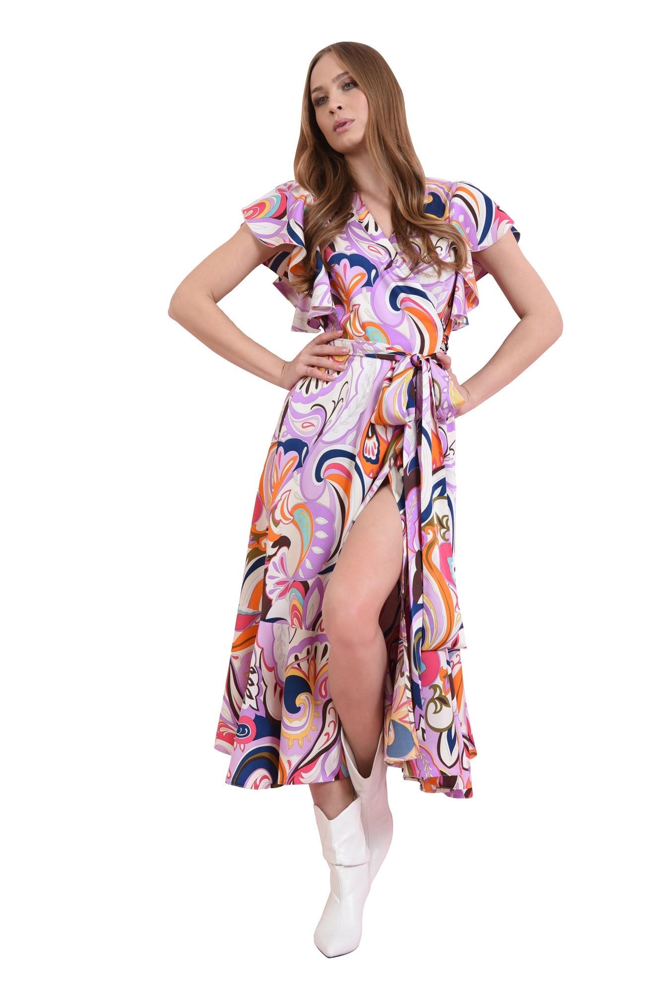 rochie petrecuta cu volan, cu cordon