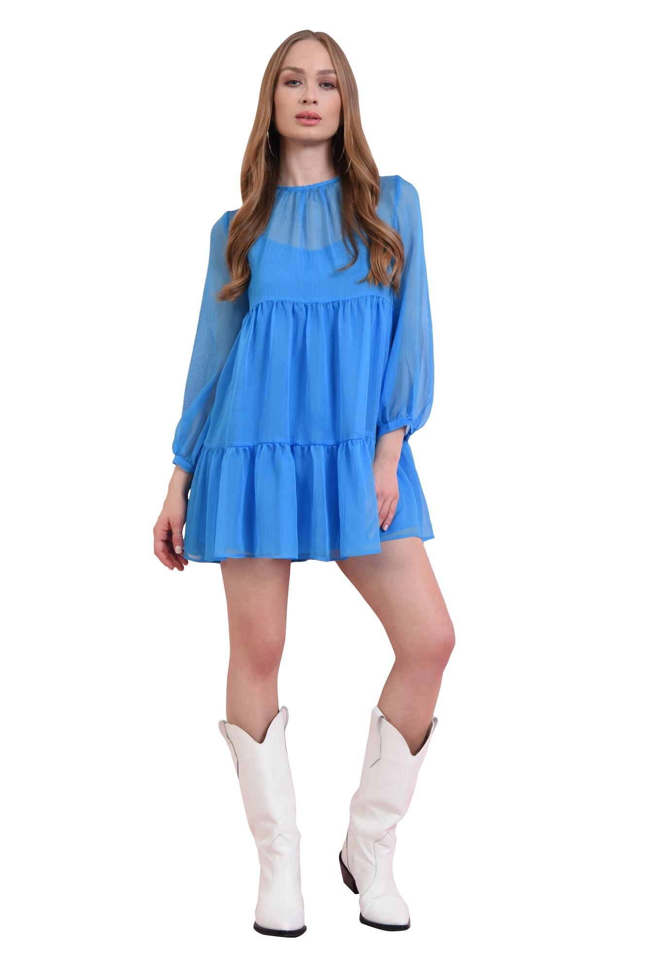 rochie scurta, albastra, babydoll