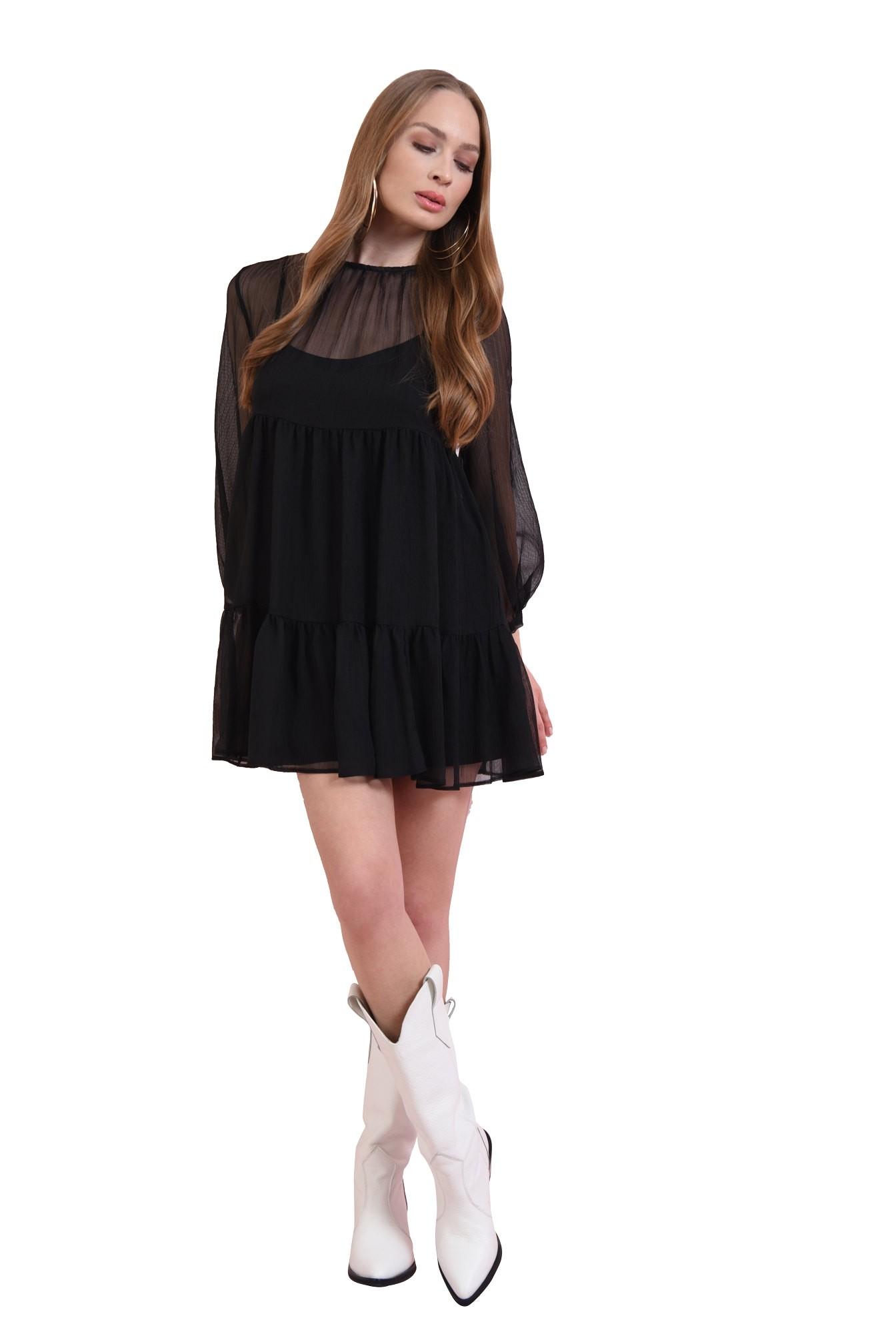 rochie mini, cu volan, din voal