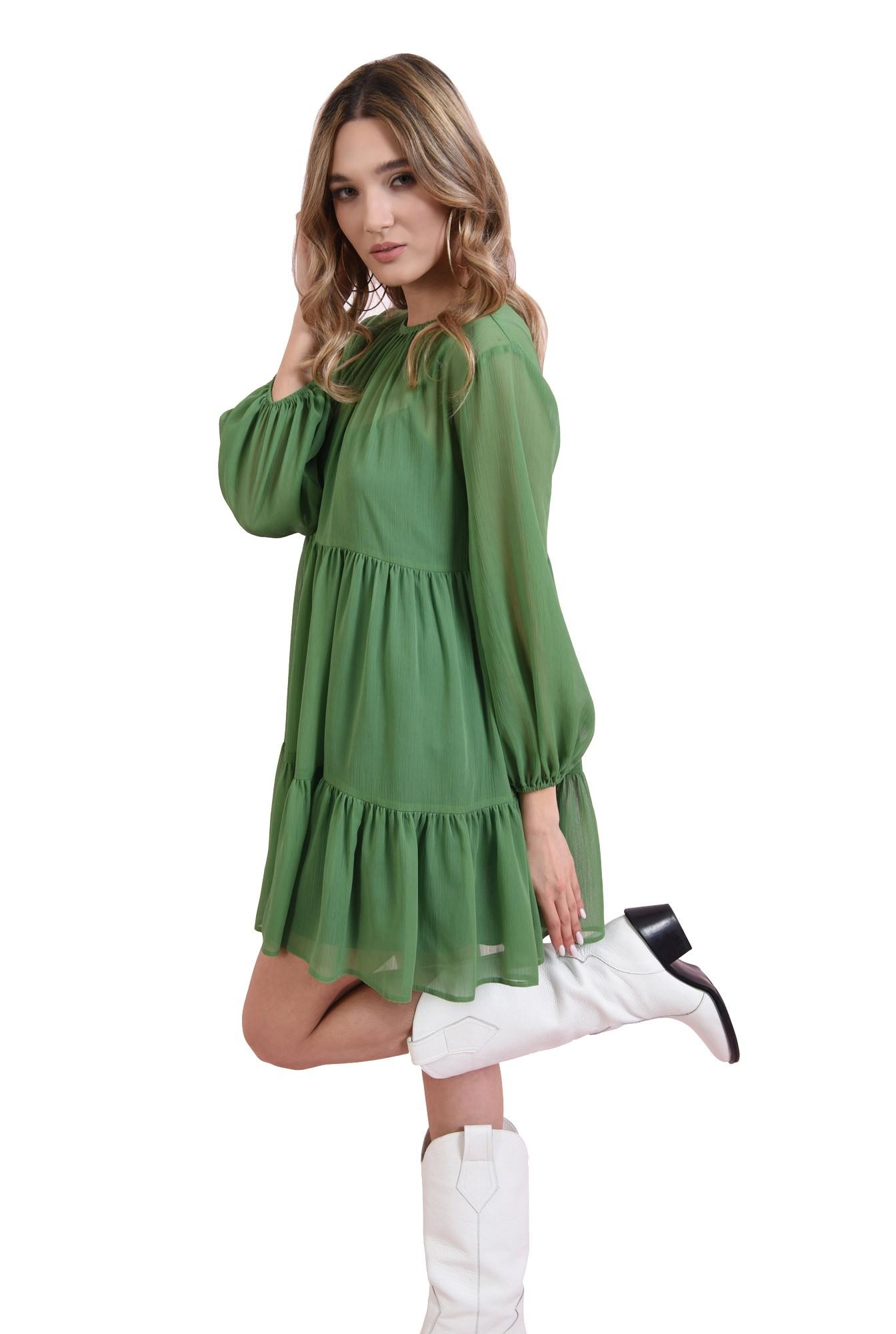 rochie scurta, verde, cu volan, Poema