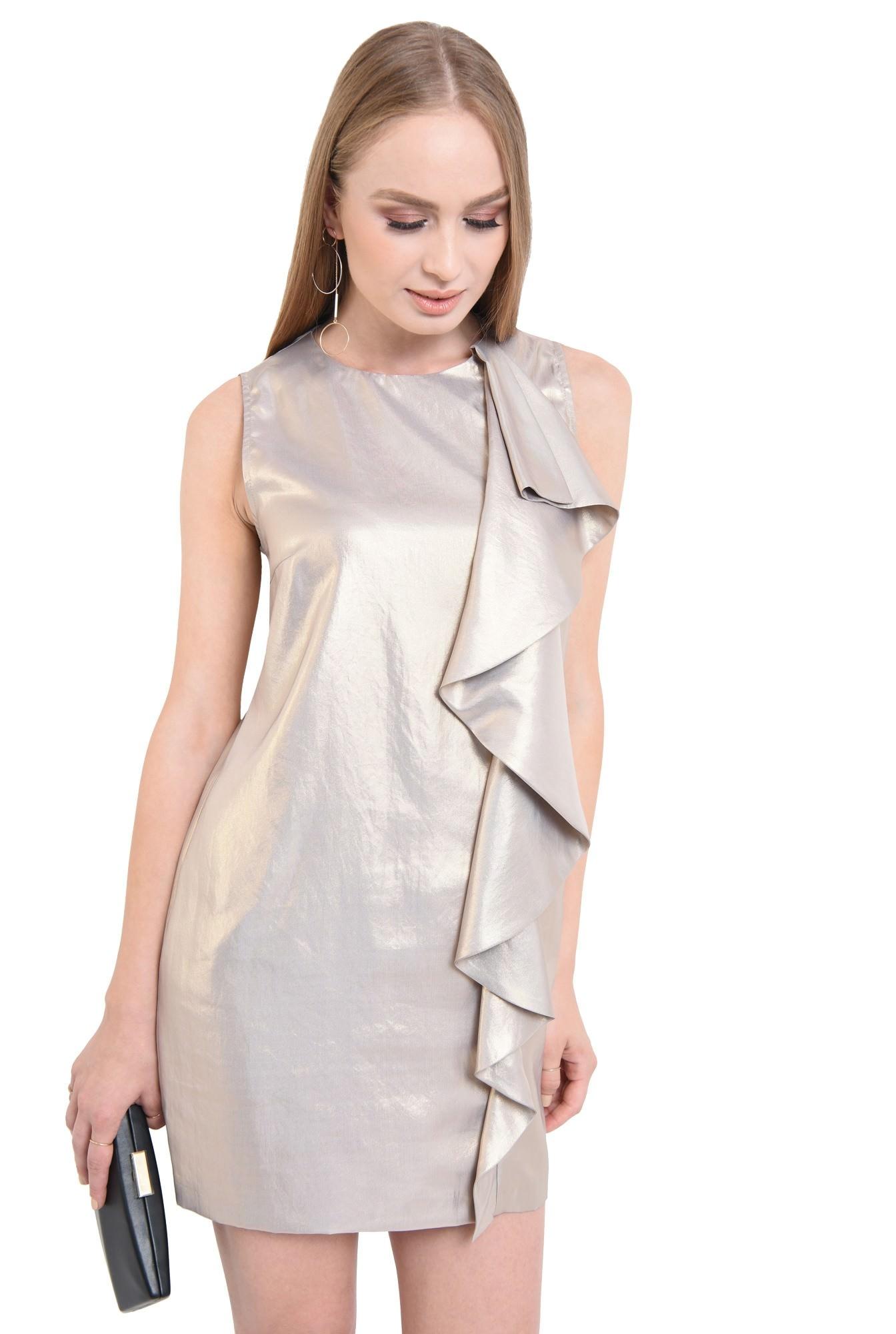 rochie de ocazie, auriu, metalic, volan