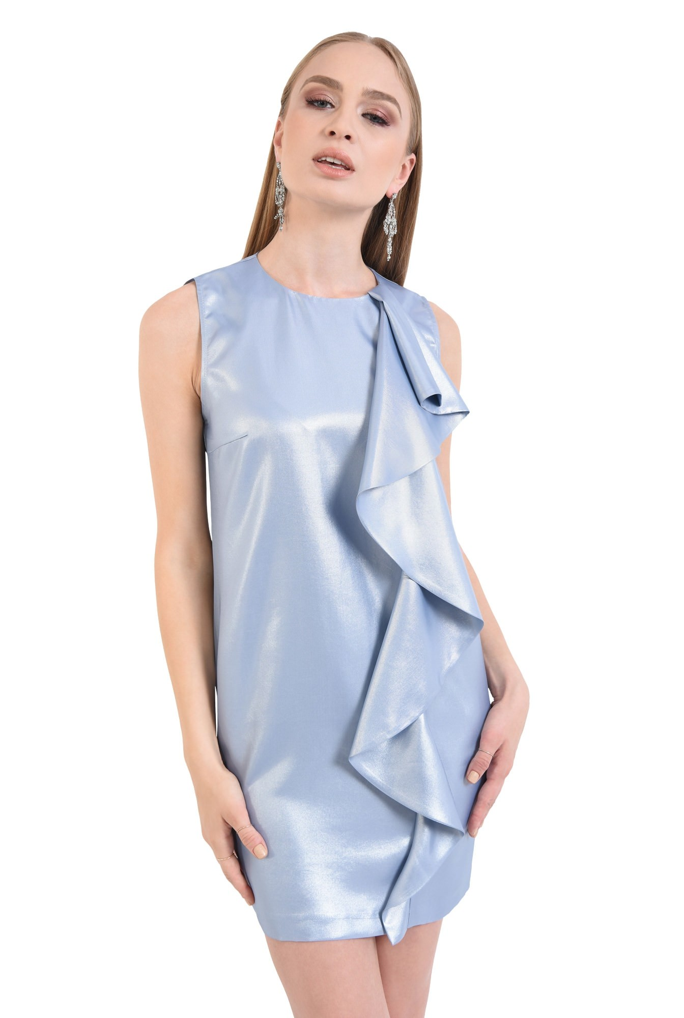rochie de ocazie, bleu, argintiu, scurta