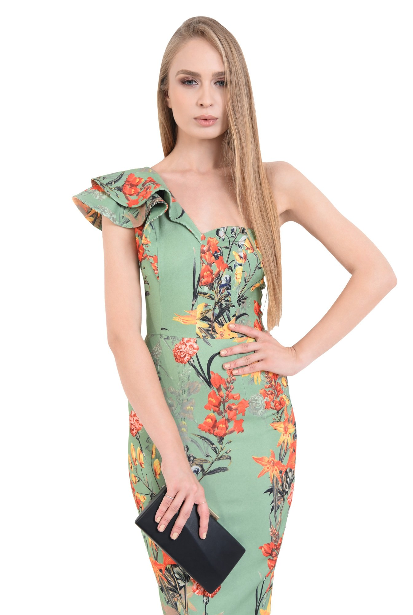 rochie de ocazie, imprimeu floral, midi