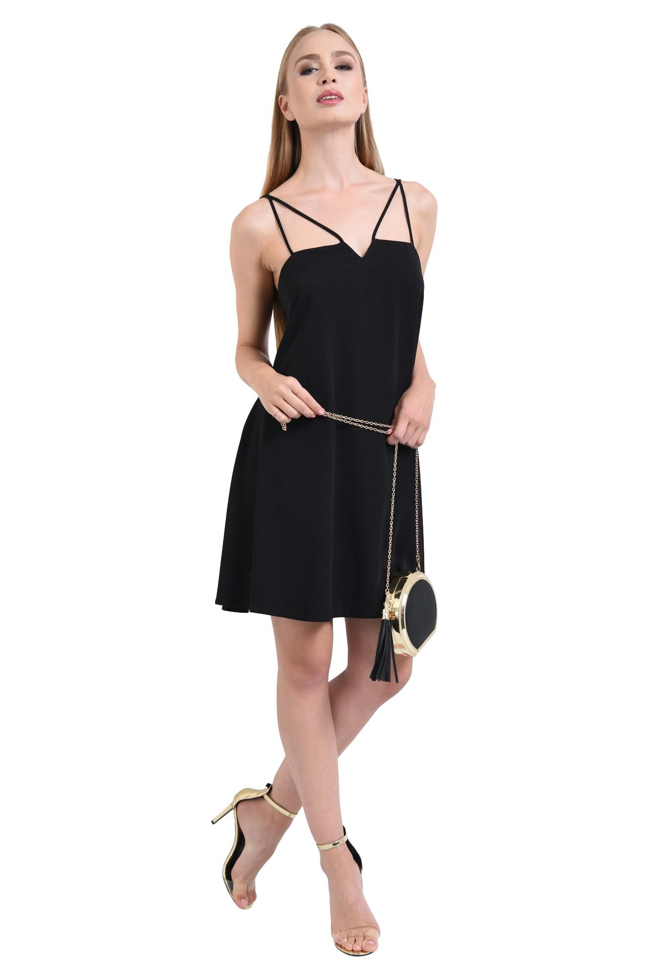 rochie eleganta, scurta, evazata, neagra