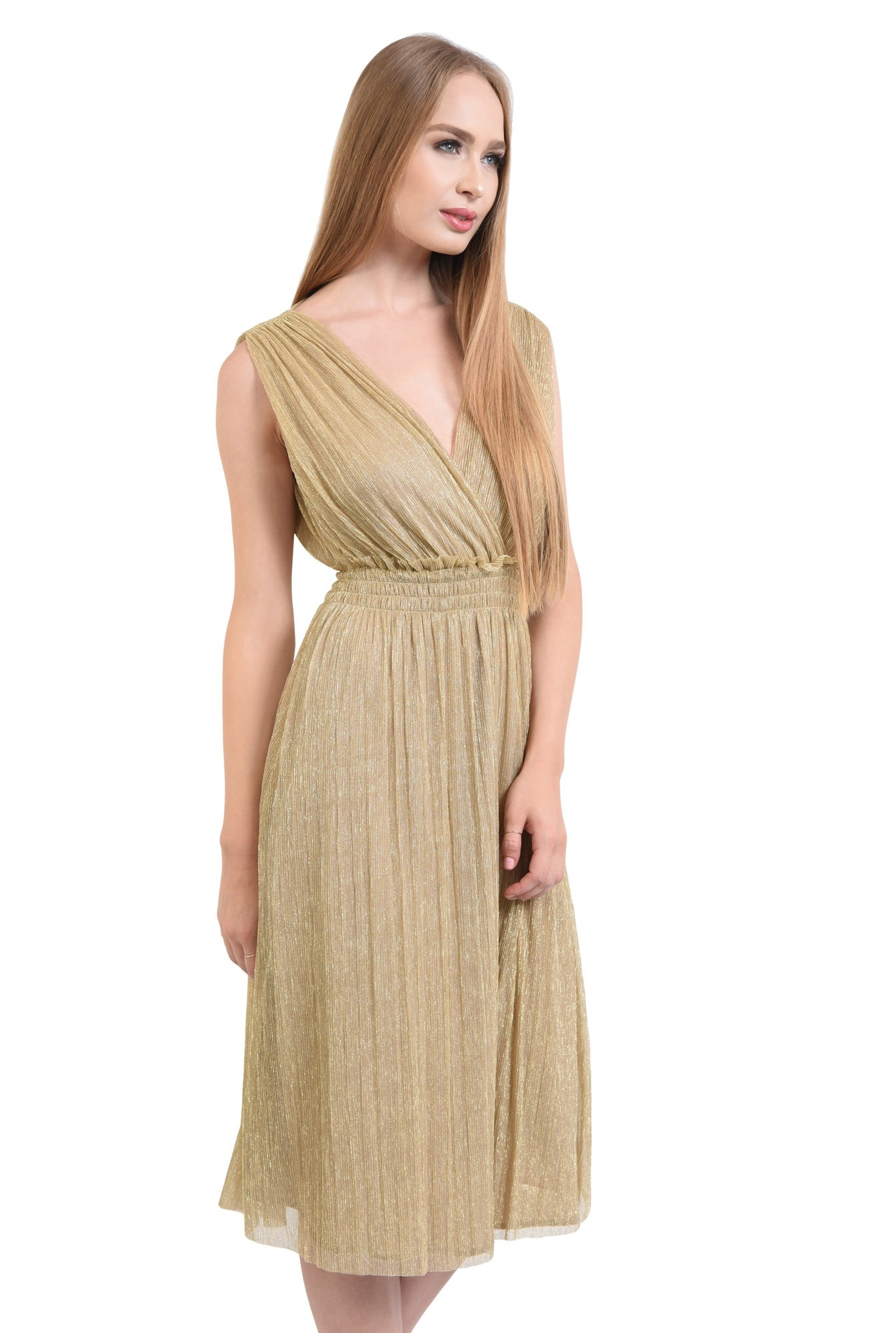 rochie de ocazie, lurex, auriu, spate decoltat