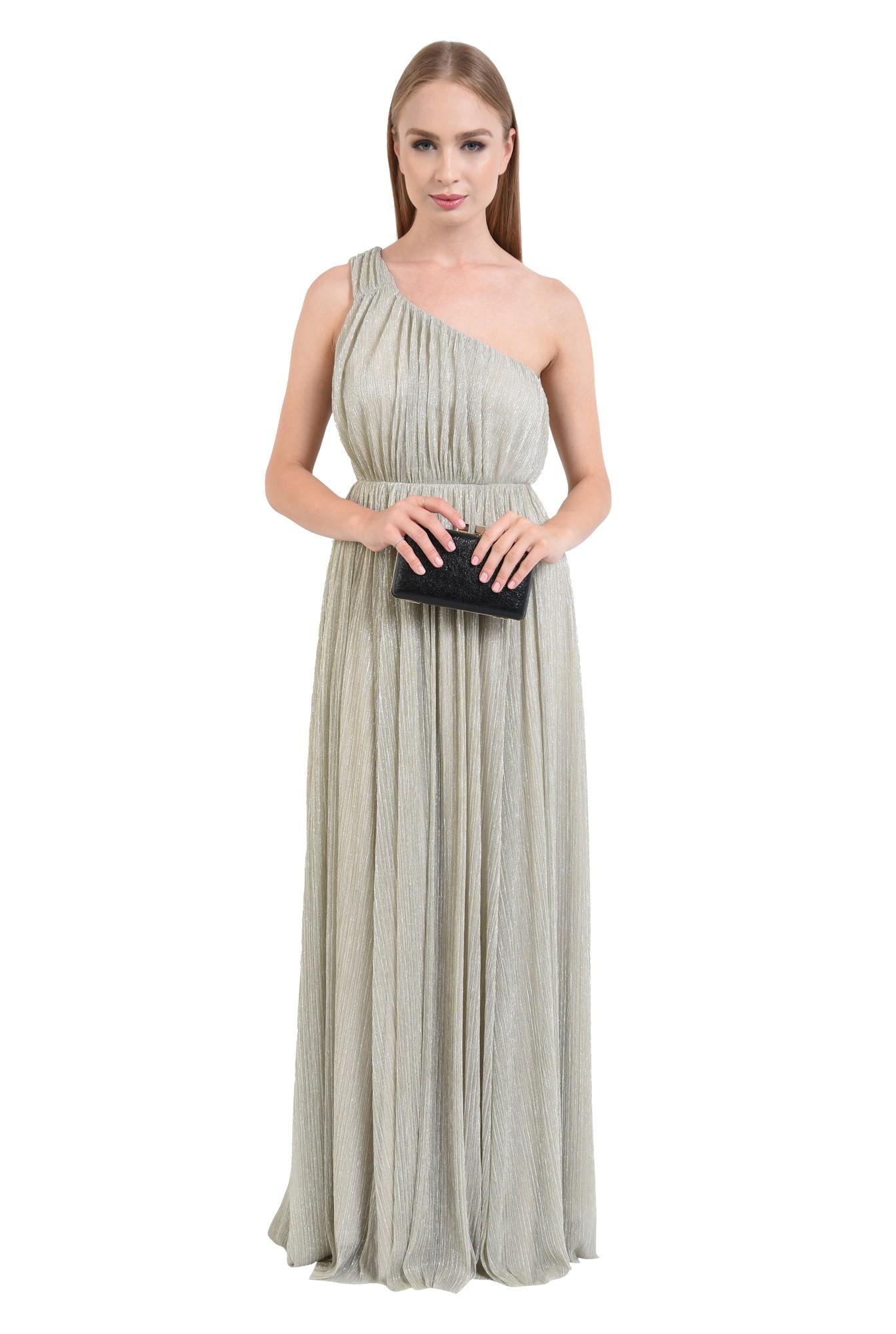 rochie eleganta, lunga, lurex, argintiu, cu umarul gol
