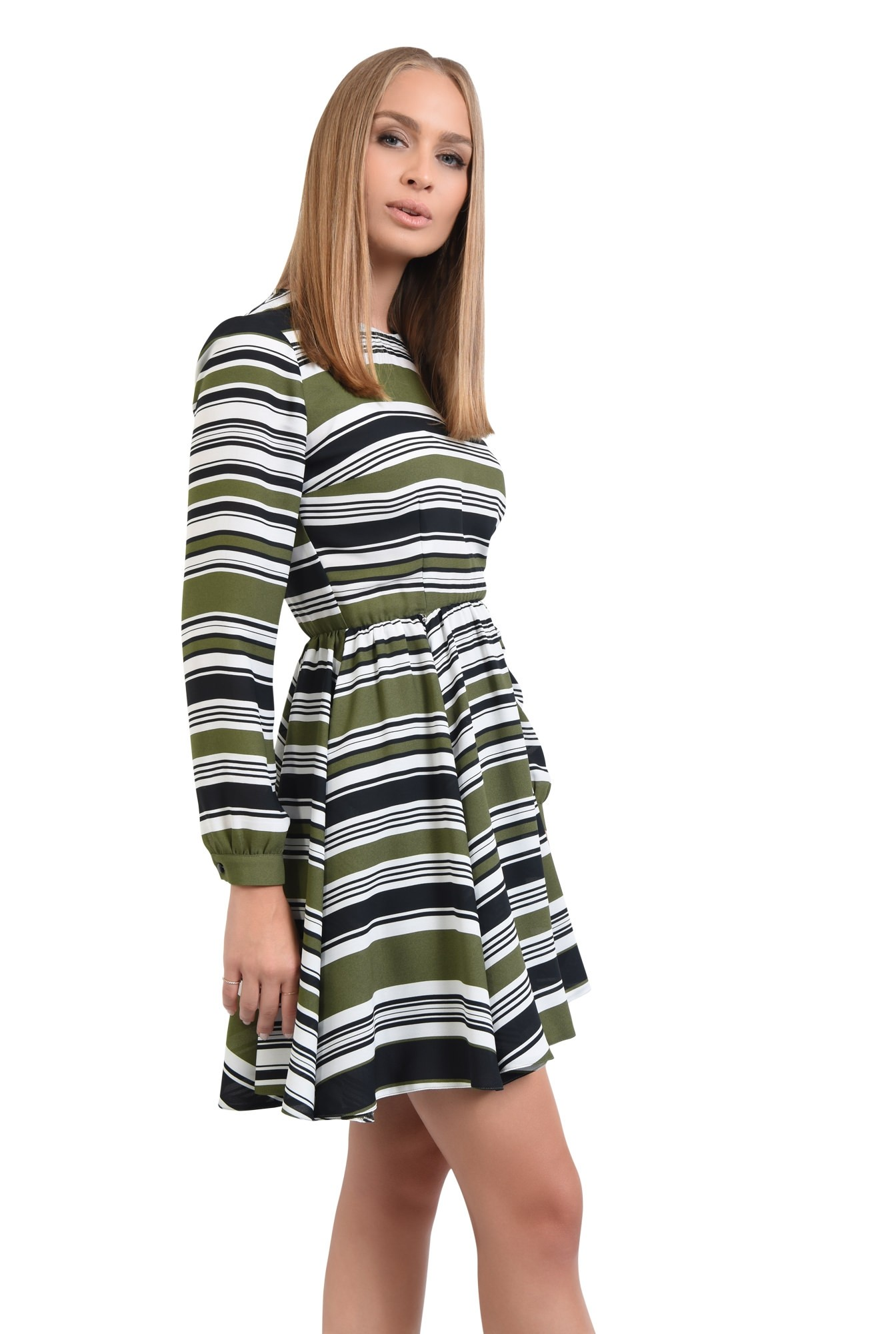 rochie casual, talie pe elastic, decolteu rotund la baza gatului, rochii online