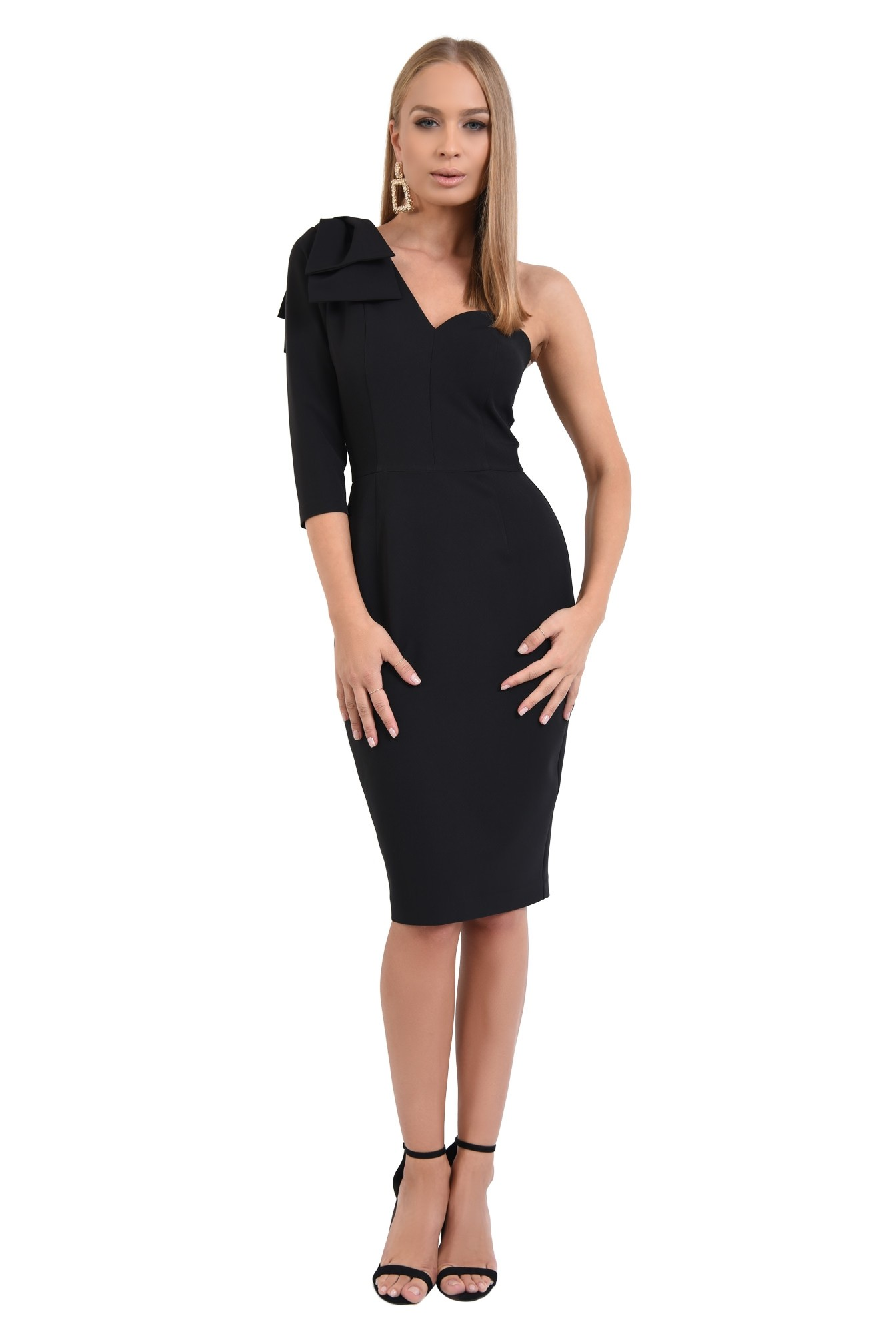 360 - rochie eleganta, conica, neagra, funda suprapusa la umar
