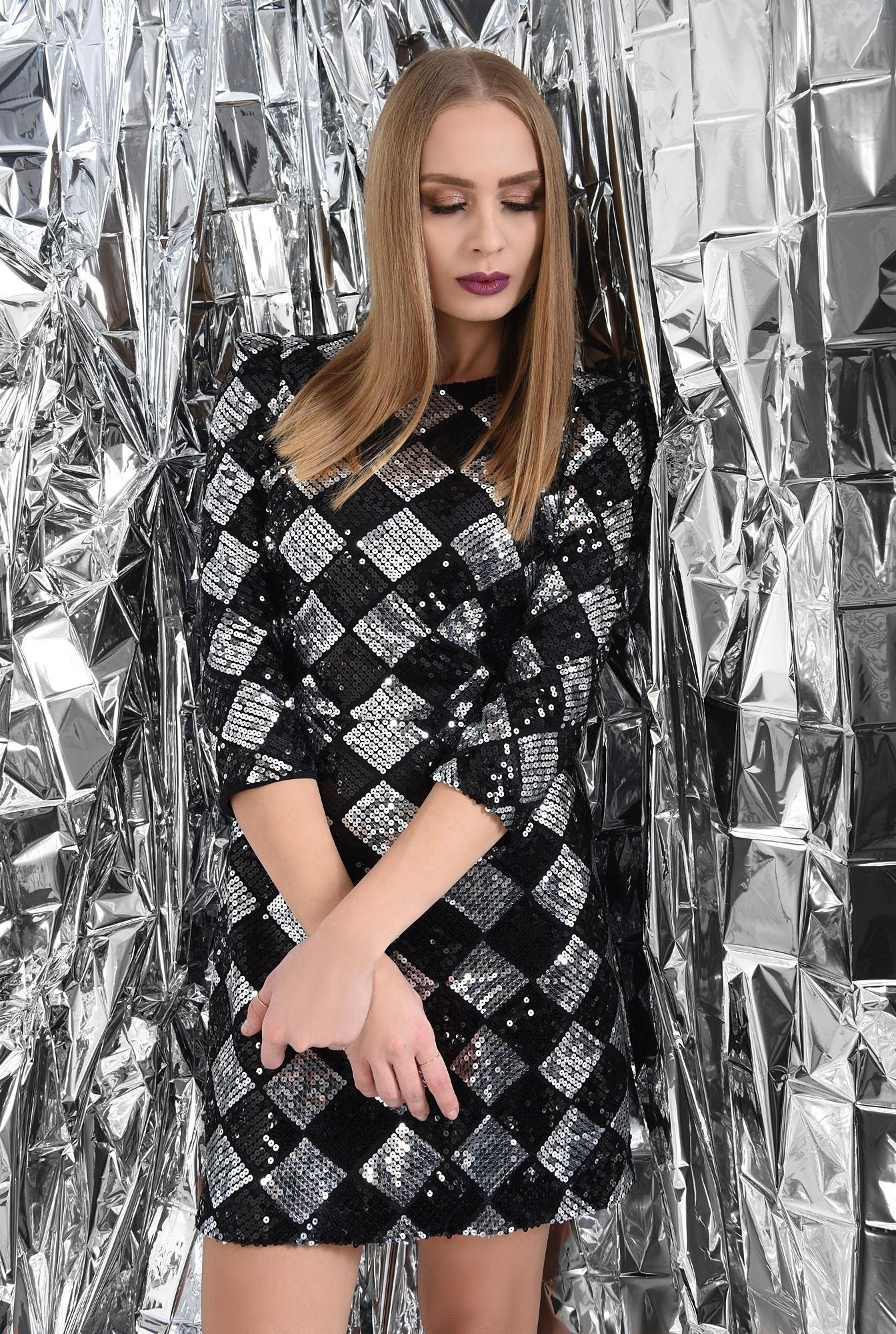 rochie de ocazie, mini, din paiete, neagra, argintie, romburi, croi cambrat