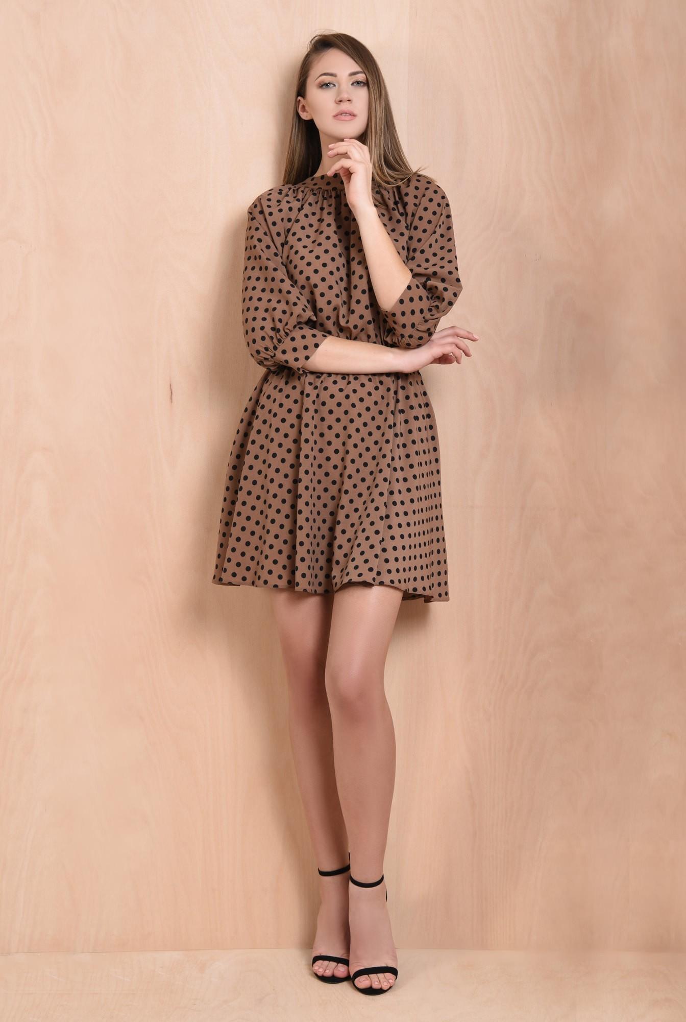 rochie cu imprimeu, scurta, clos, maro, cu guler, elastic in talie
