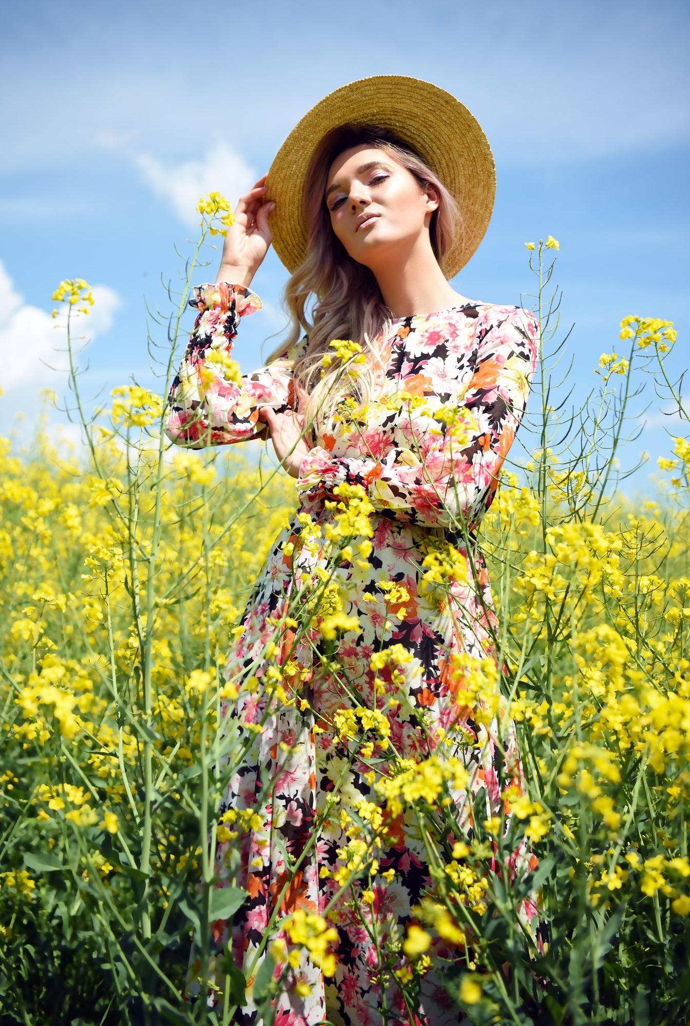 rochie casual, pe bie, cu imprimeu floral, maneci lungi cu mansete elastice
