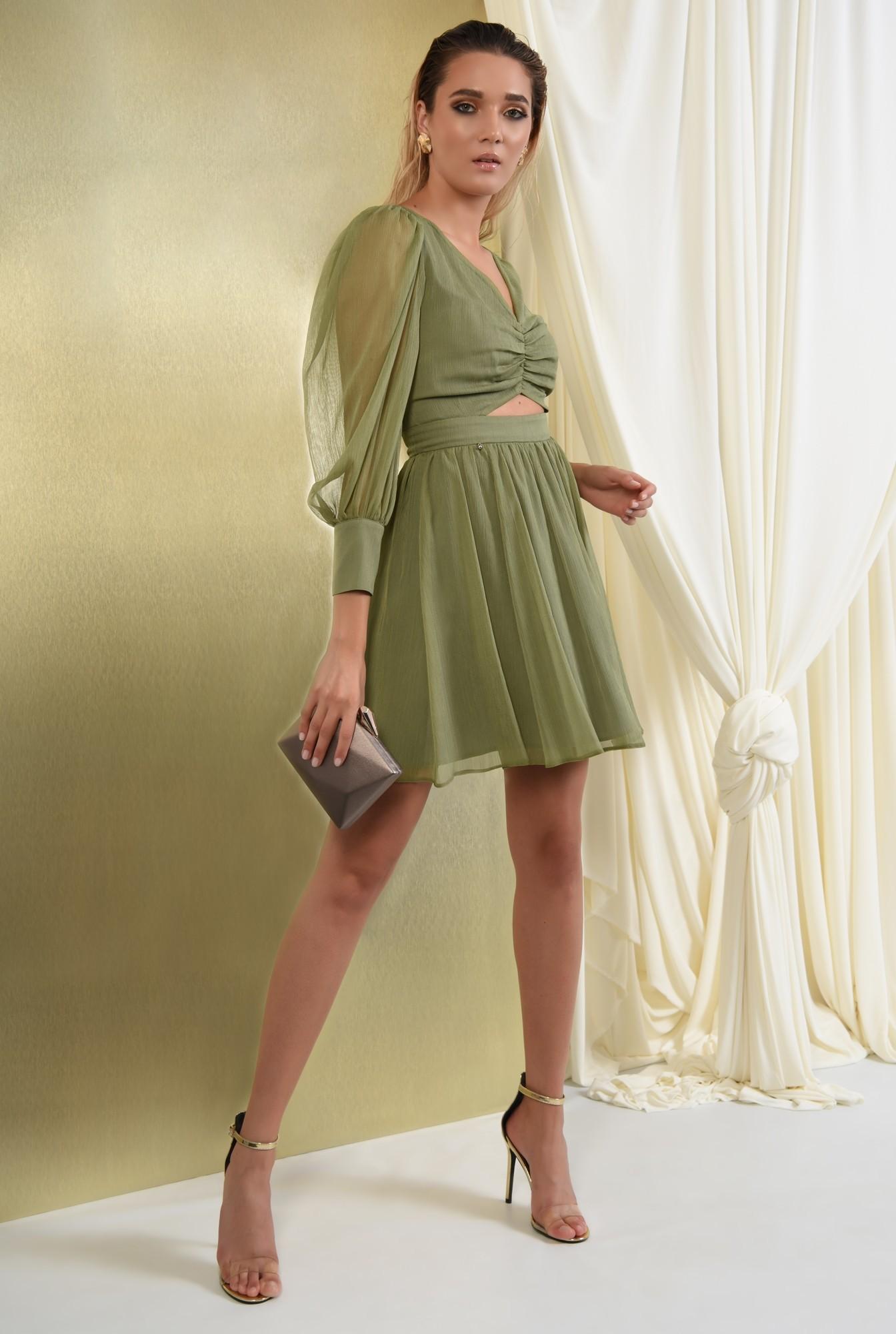360 - rochie eleganta, din voal creponat, kaki, scurta, cu decupaj la talie
