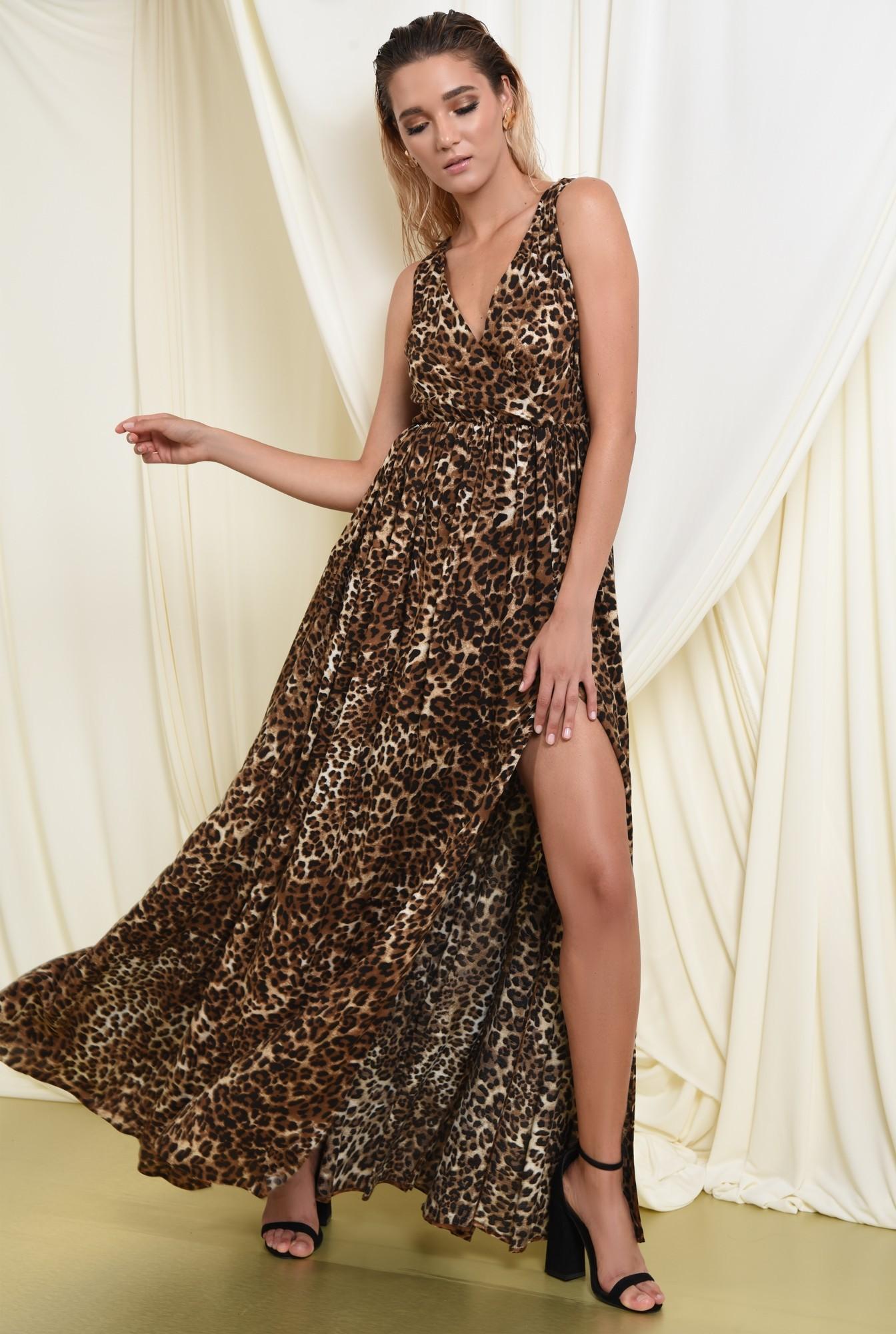 rochie de ocazie, cu imprimeu leopard, maxi, evazata, cu crapeu, funda la spate