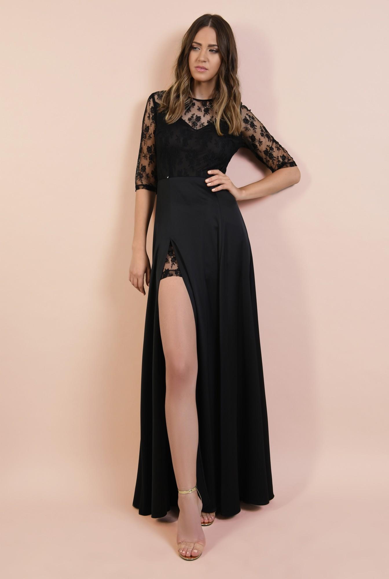 rochie de seara, neagra, lunga, cu crapeu, din dantela, satin