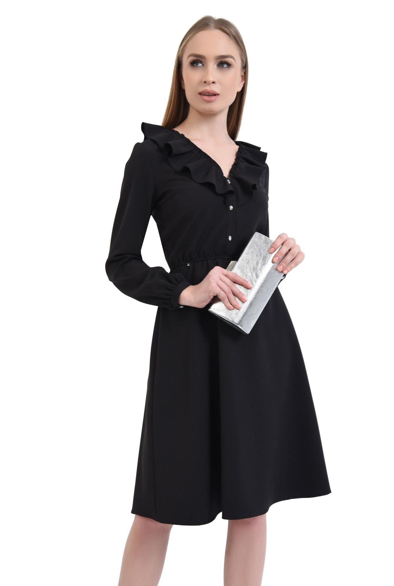 Rochie casual neagra, cloche