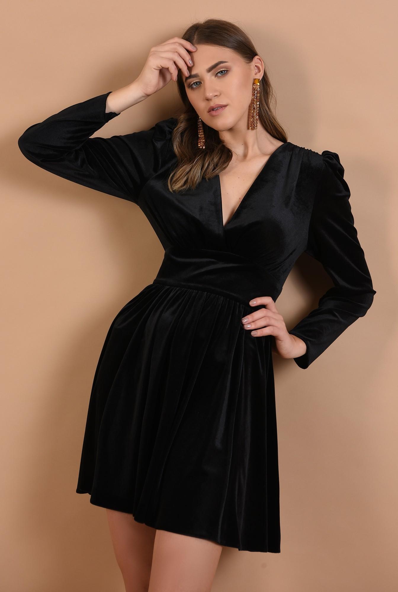 rochie eleganta, din catifea, neagra, scurta