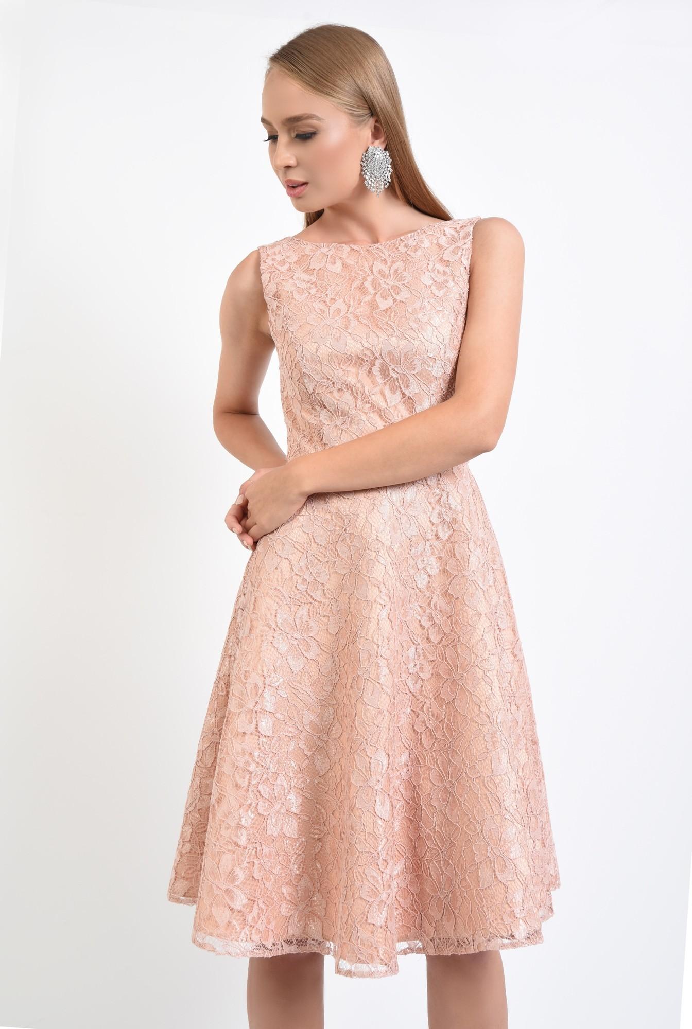 rochie eleganta, peach, spate decoltat, decolteu barcuta