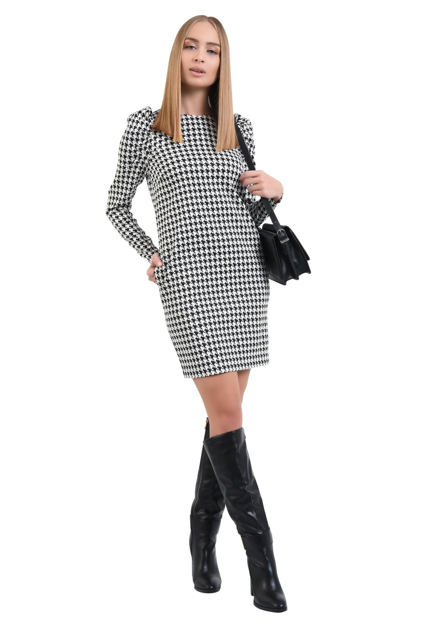 360 - rochie office, scurta, croi drept, maneci lungi, pepit, alb-negru