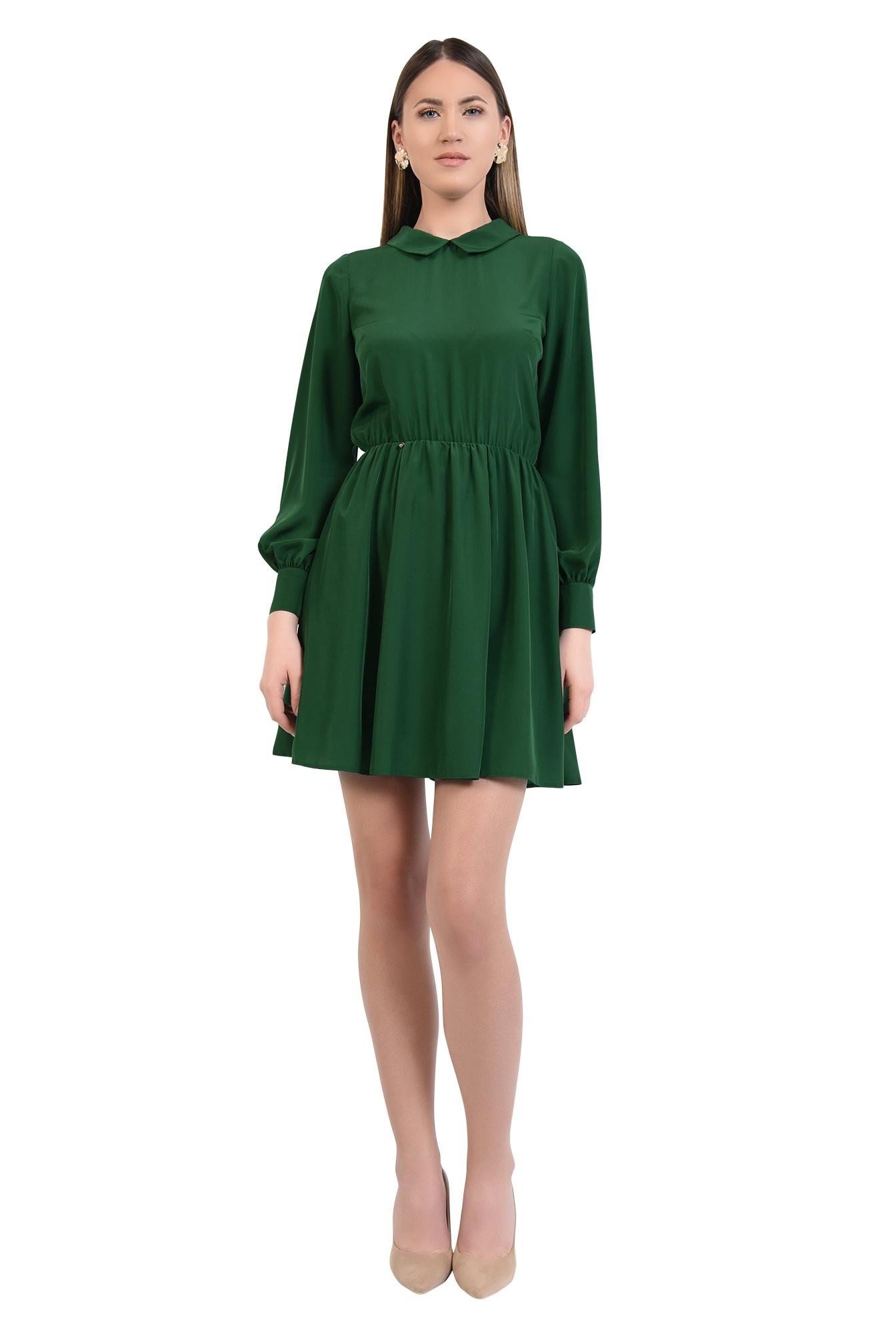 rochie scurta, evazata, clos, talie pe elastic, guler
