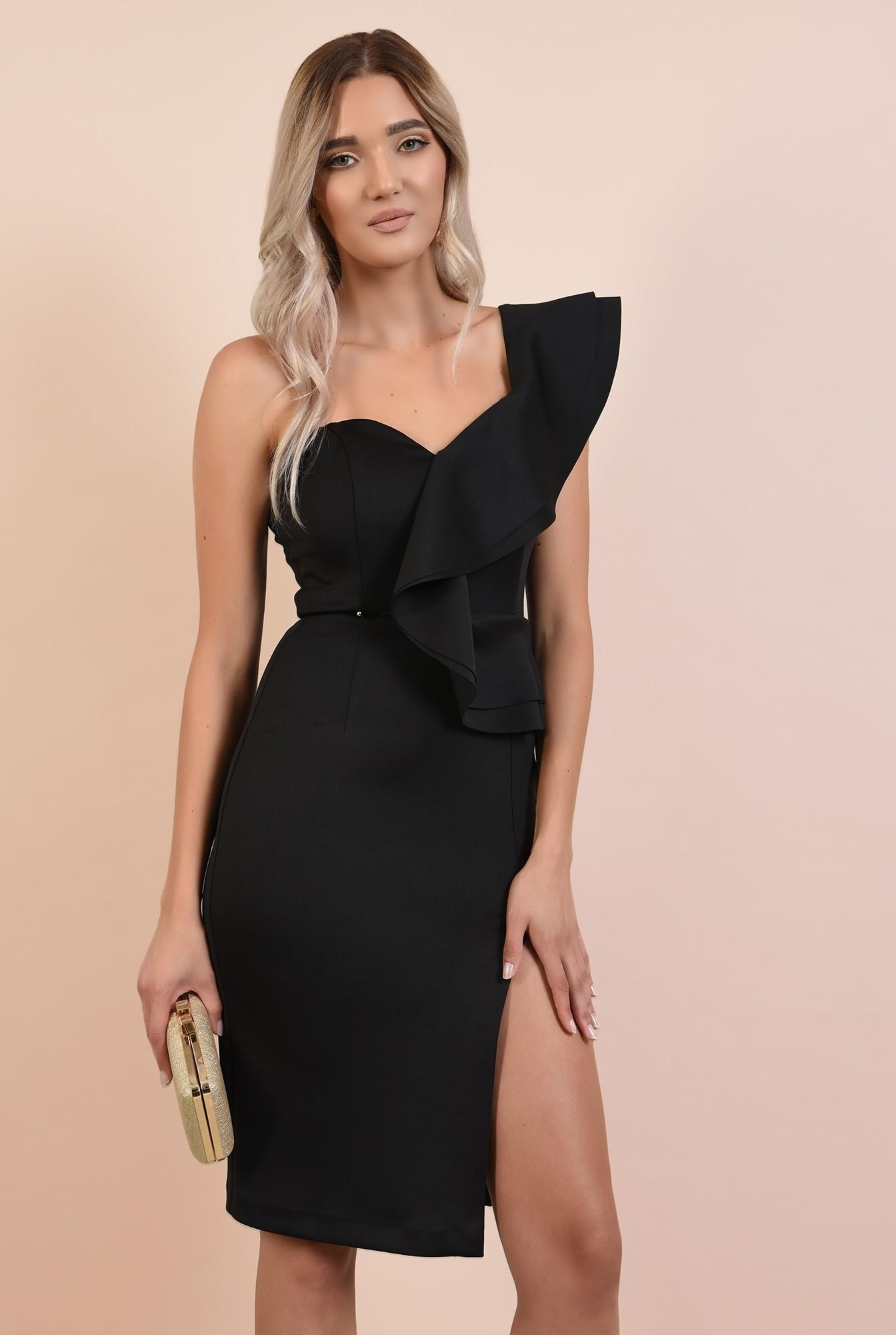 rochie eleganta, neagra, midi, croi conic, decolteu cu umar gol si volan, Poema