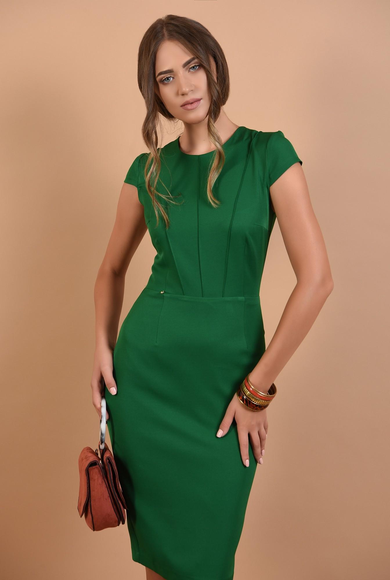 rochie verde, office, conica, midi, cu maneci capac, cusaturi decorative, Poema