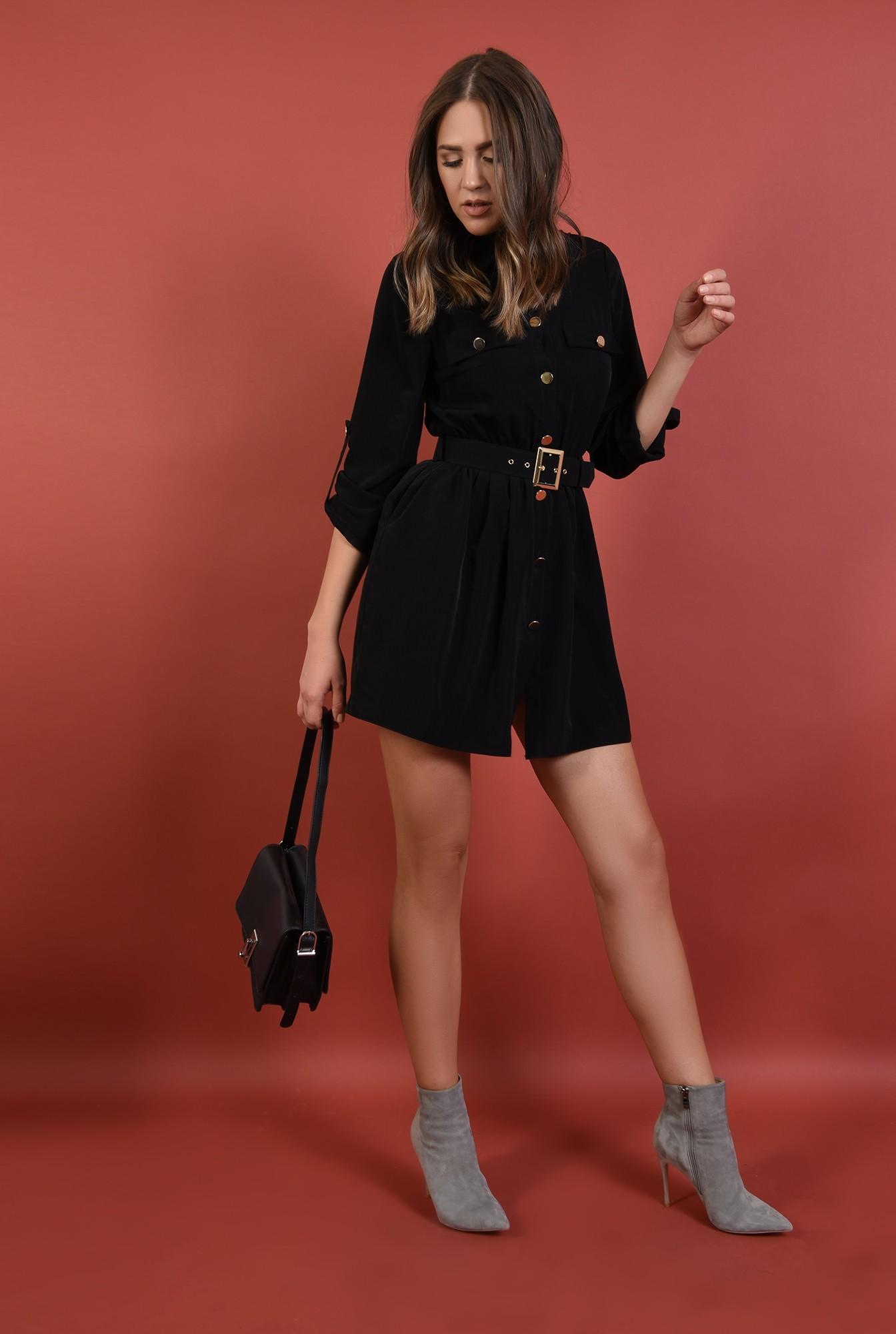 rochie casual, neagra, scurta, maneci midi cu mansete, cu centura